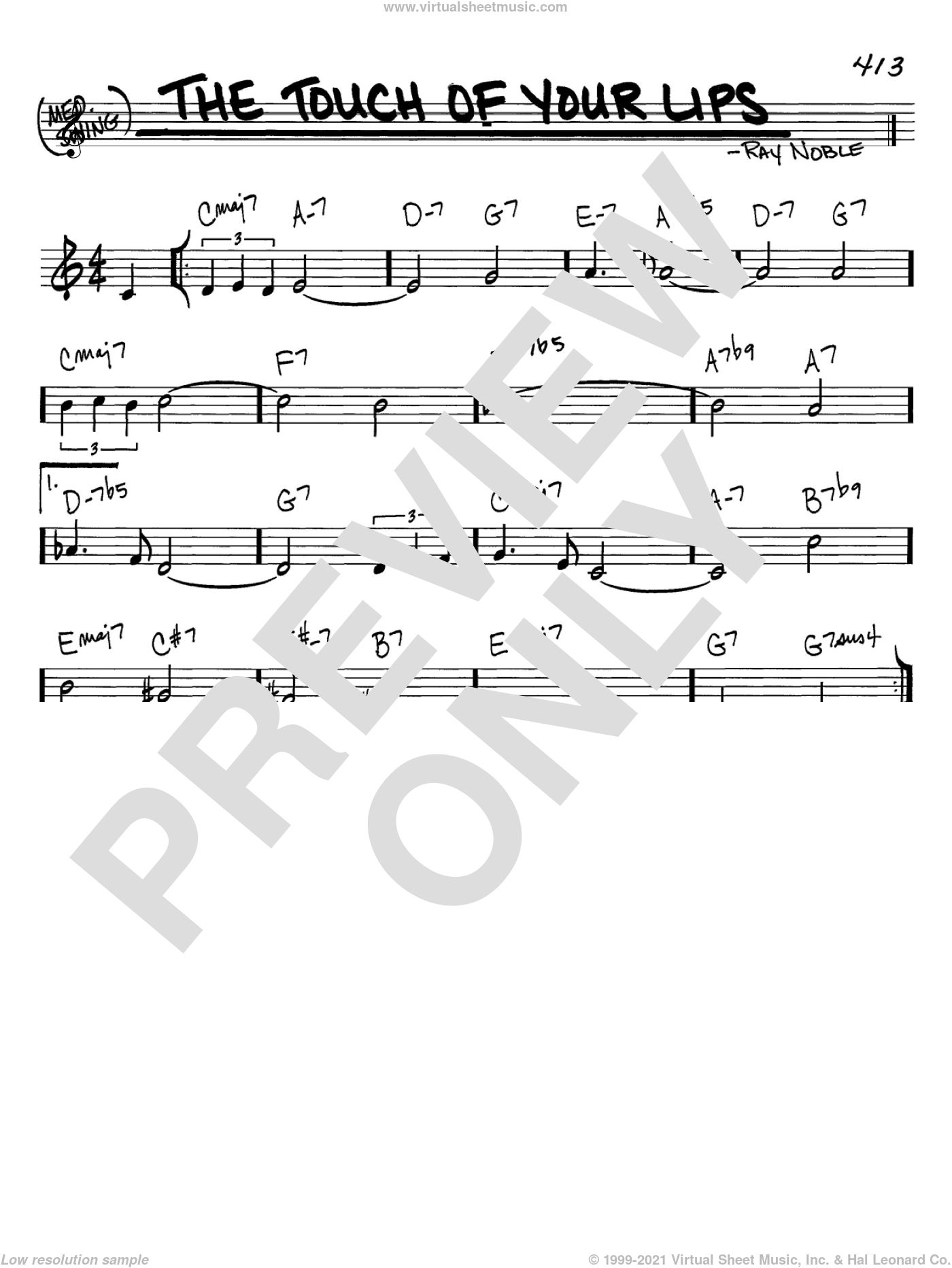 The Touch Of Your Lips sheet music for voice and other instruments (C) by Ray Noble