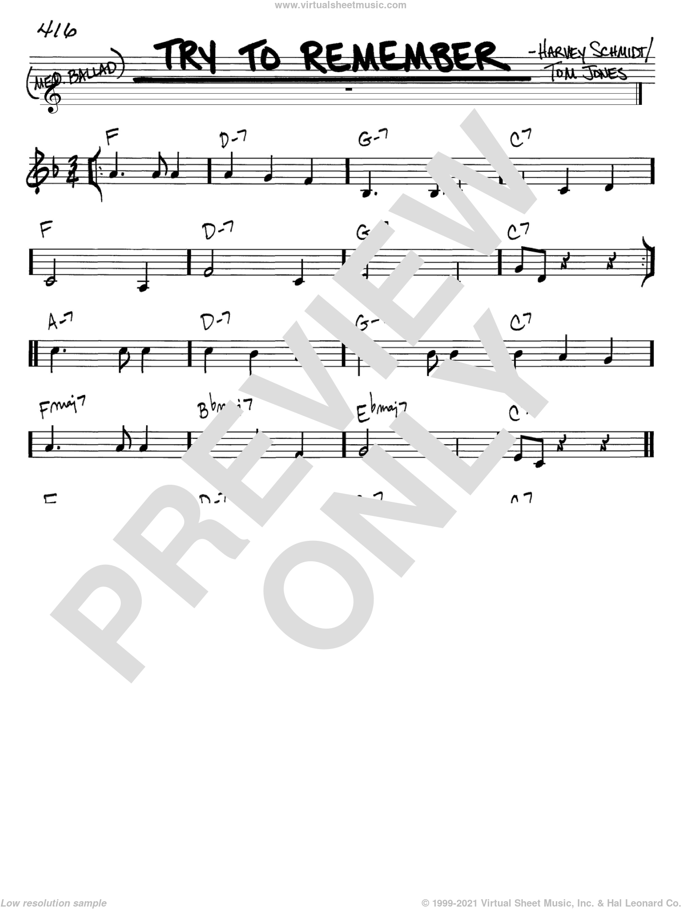Try To Remember sheet music for voice and other instruments (in C) by Harvey Schmidt and Tom Jones, intermediate. Score Image Preview.