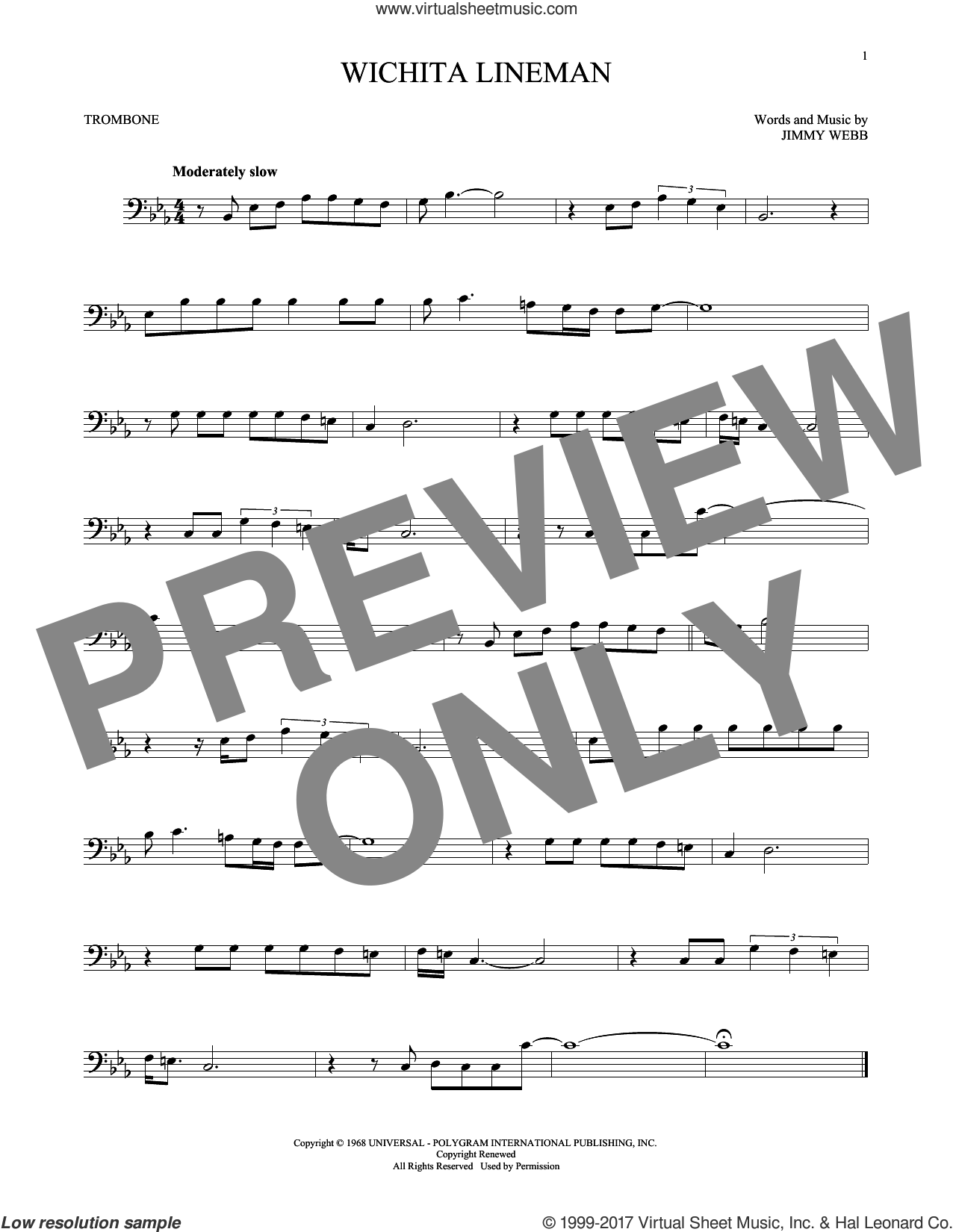 Wichita Lineman sheet music for trombone solo by Glen Campbell and Jimmy Webb. Score Image Preview.