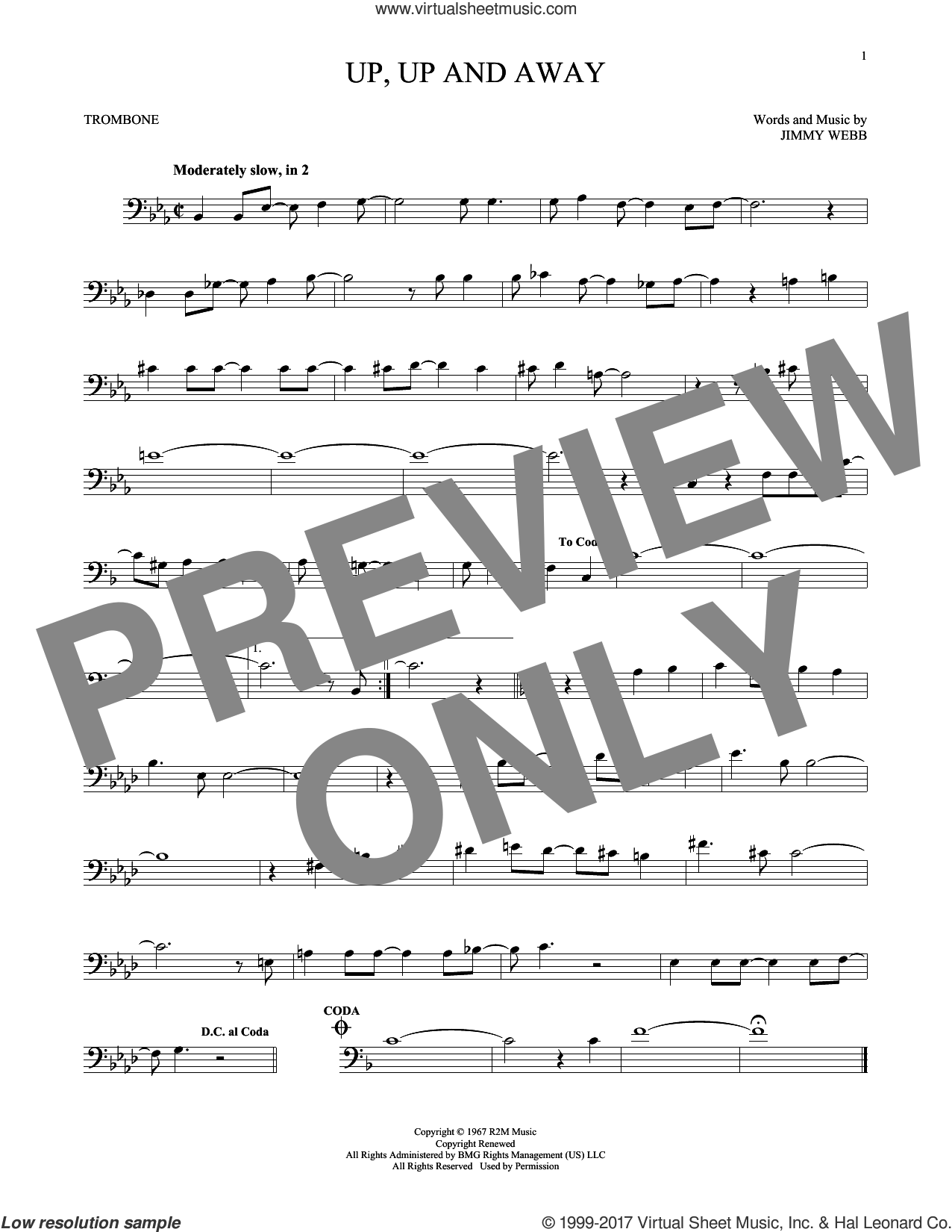 Up, Up And Away sheet music for trombone solo by The Fifth Dimension and Jimmy Webb. Score Image Preview.