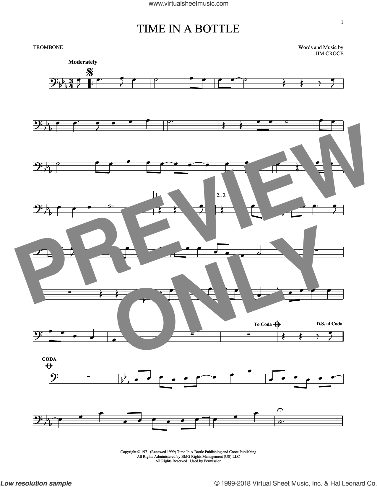 Time In A Bottle sheet music for trombone solo by Jim Croce, intermediate skill level