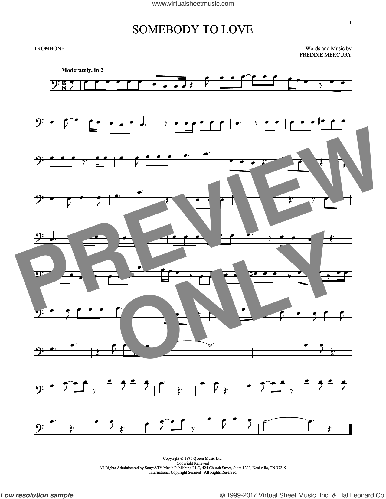 Somebody To Love sheet music for trombone solo by Queen and Freddie Mercury, intermediate skill level