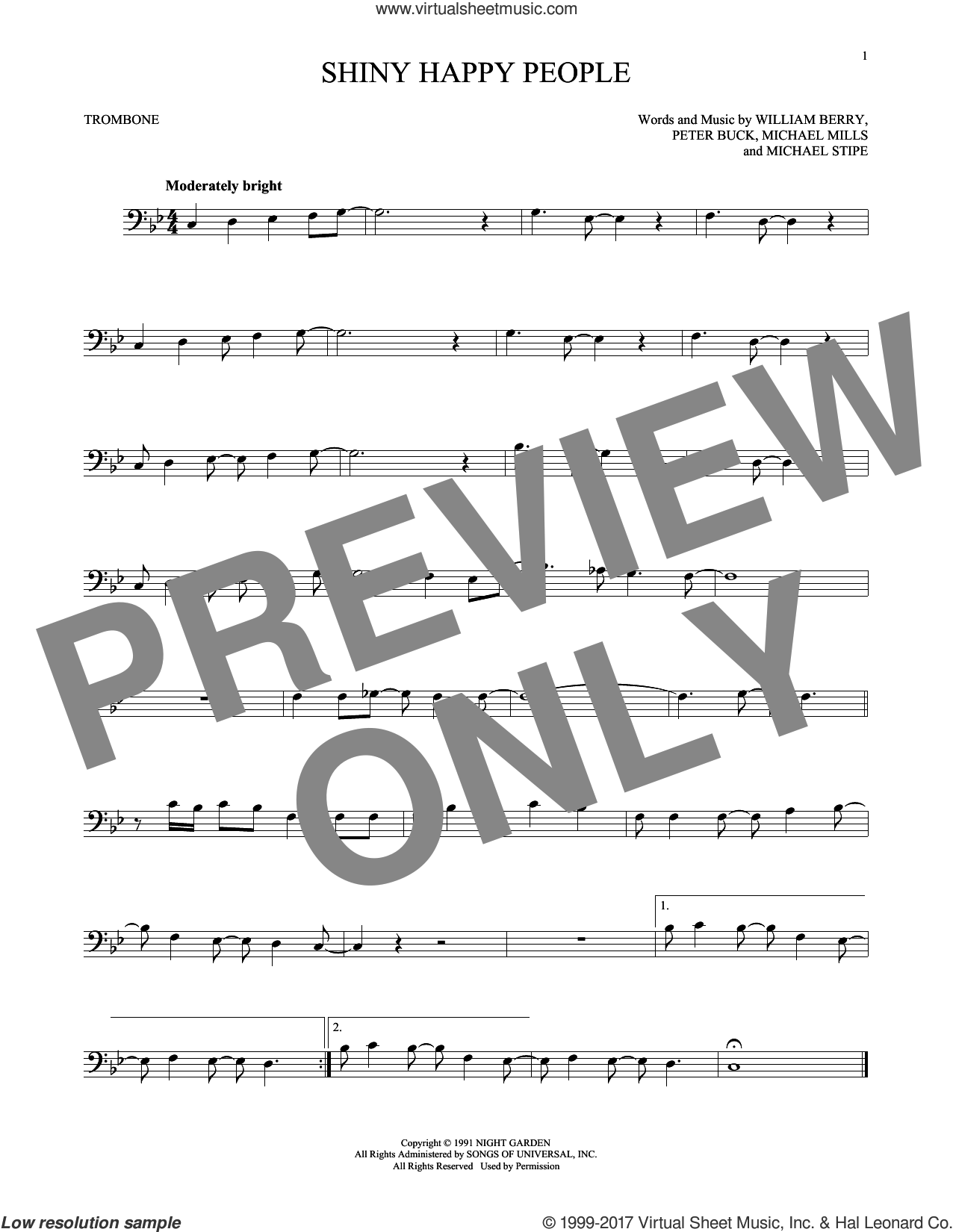 Shiny Happy People sheet music for trombone solo by R.E.M., Michael Stipe, Mike Mills, Peter Buck and William Berry, intermediate skill level