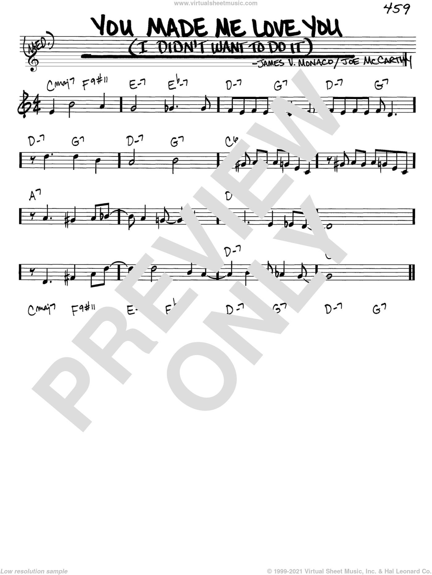 You Made Me Love You (I Didn't Want To Do It) sheet music for voice and other instruments (C) by James Monaco and Joe McCarthy. Score Image Preview.