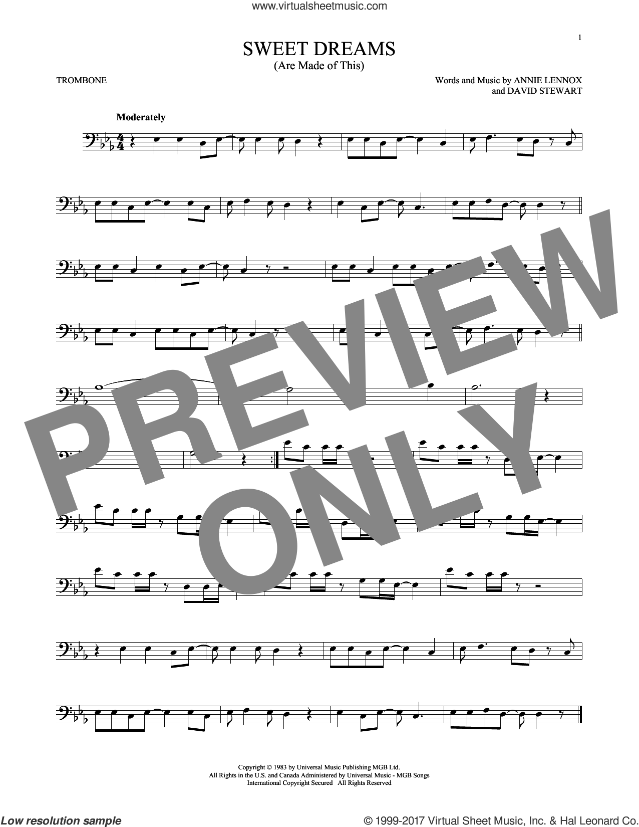 Sweet Dreams (Are Made Of This) sheet music for trombone solo by Eurythmics, Annie Lennox and Dave Stewart. Score Image Preview.