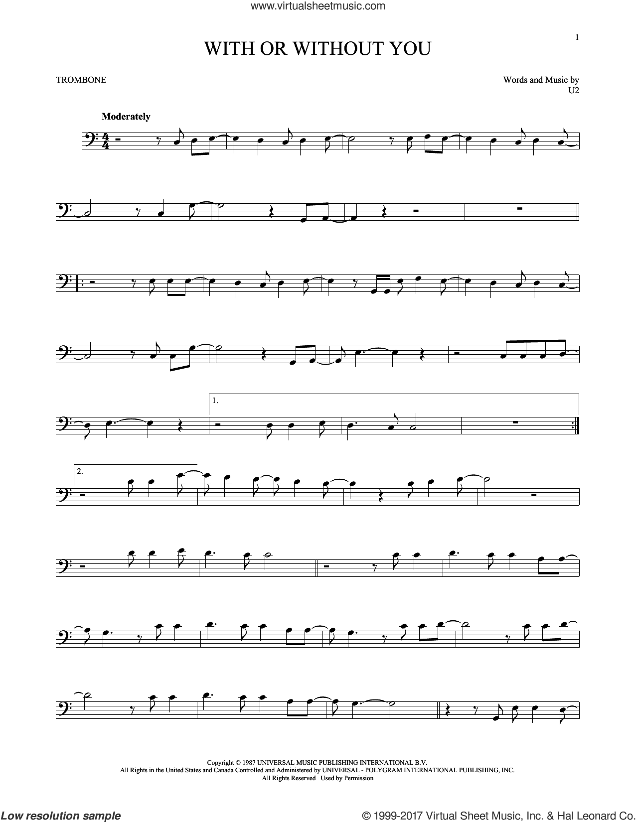 With Or Without You sheet music for trombone solo by U2, intermediate skill level