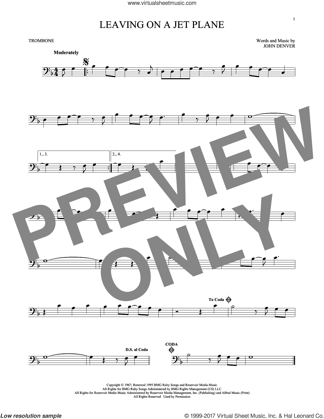 Leaving On A Jet Plane sheet music for trombone solo by John Denver and Peter, Paul & Mary, intermediate skill level