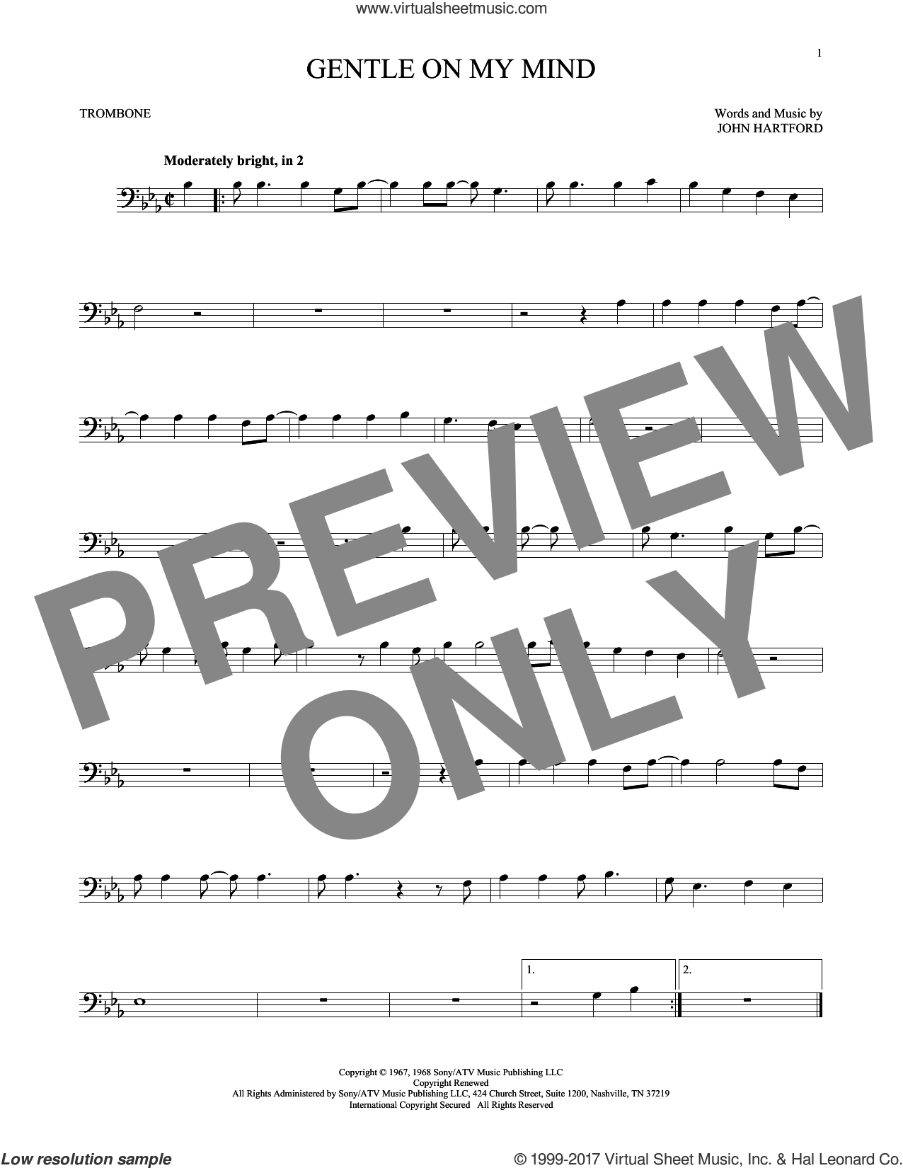 Gentle On My Mind sheet music for trombone solo by Glen Campbell. Score Image Preview.