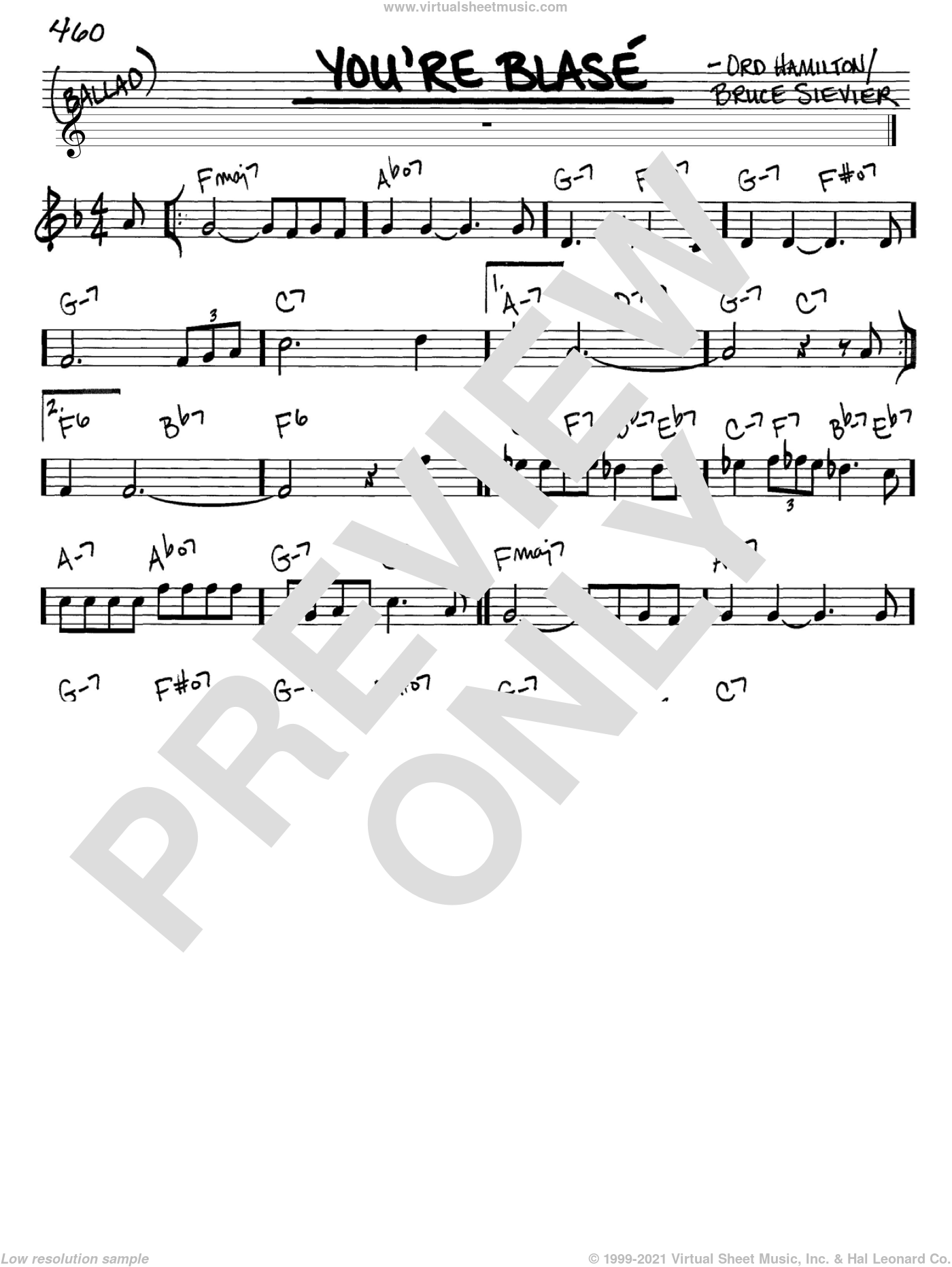 Vaughan - You're Blase sheet music (real book - melody and chords) (in C)
