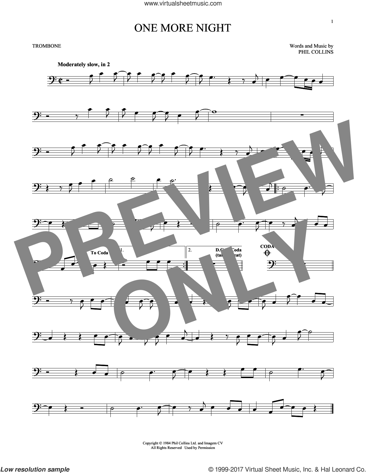One More Night sheet music for trombone solo by Phil Collins, intermediate skill level