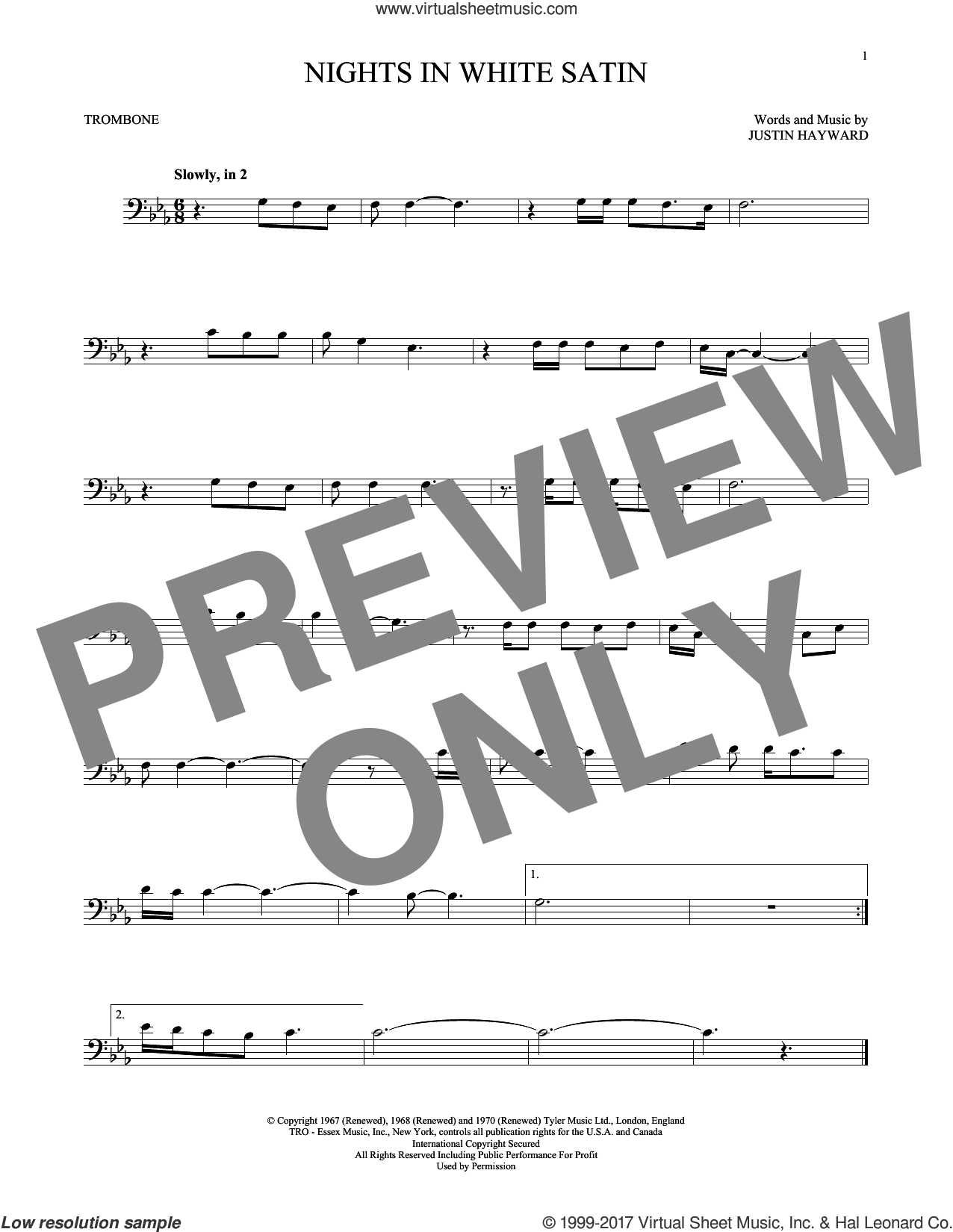 Nights In White Satin sheet music for trombone solo by The Moody Blues, intermediate trombone. Score Image Preview.