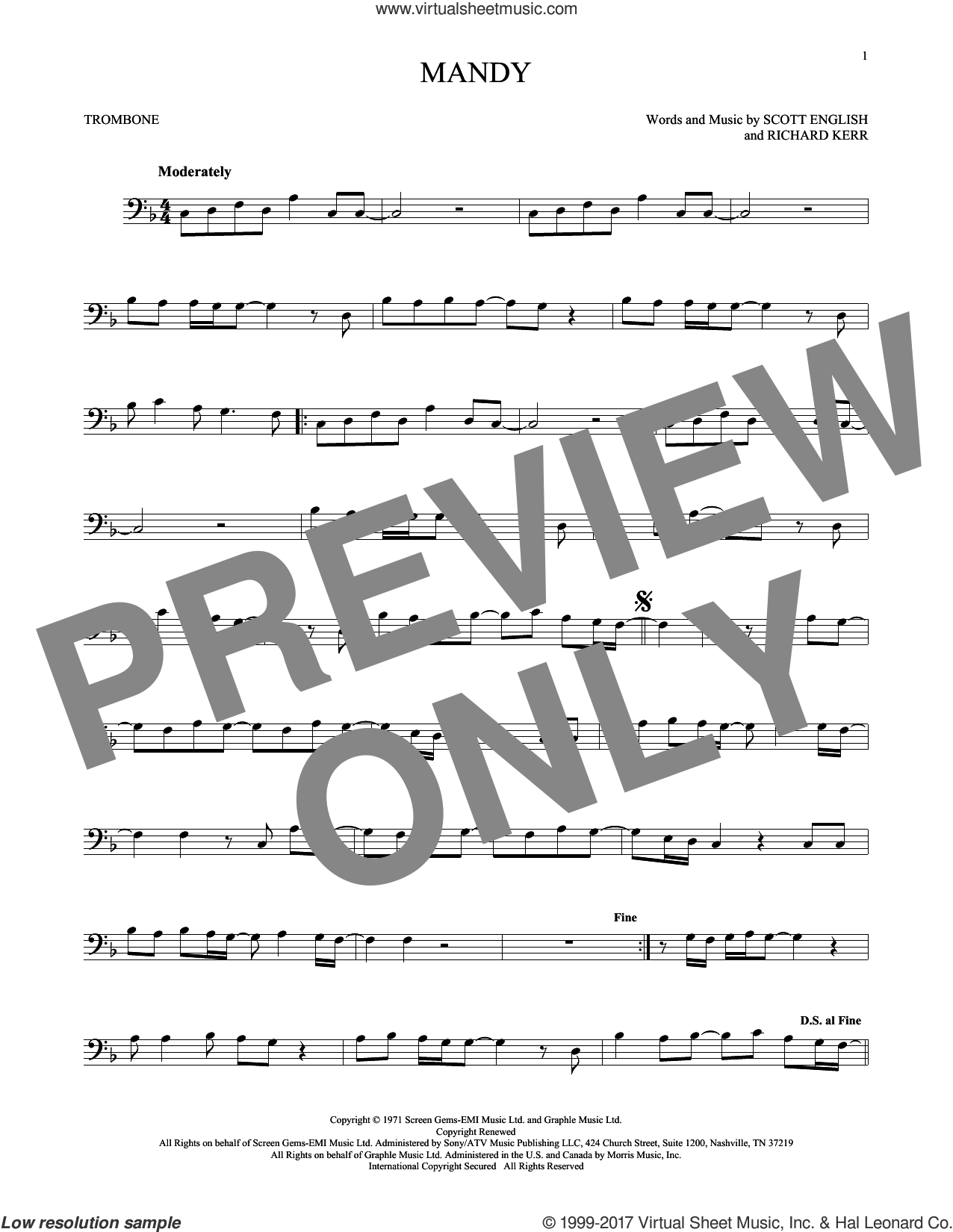 Mandy sheet music for trombone solo by Barry Manilow, Richard Kerr and Scott English, intermediate skill level