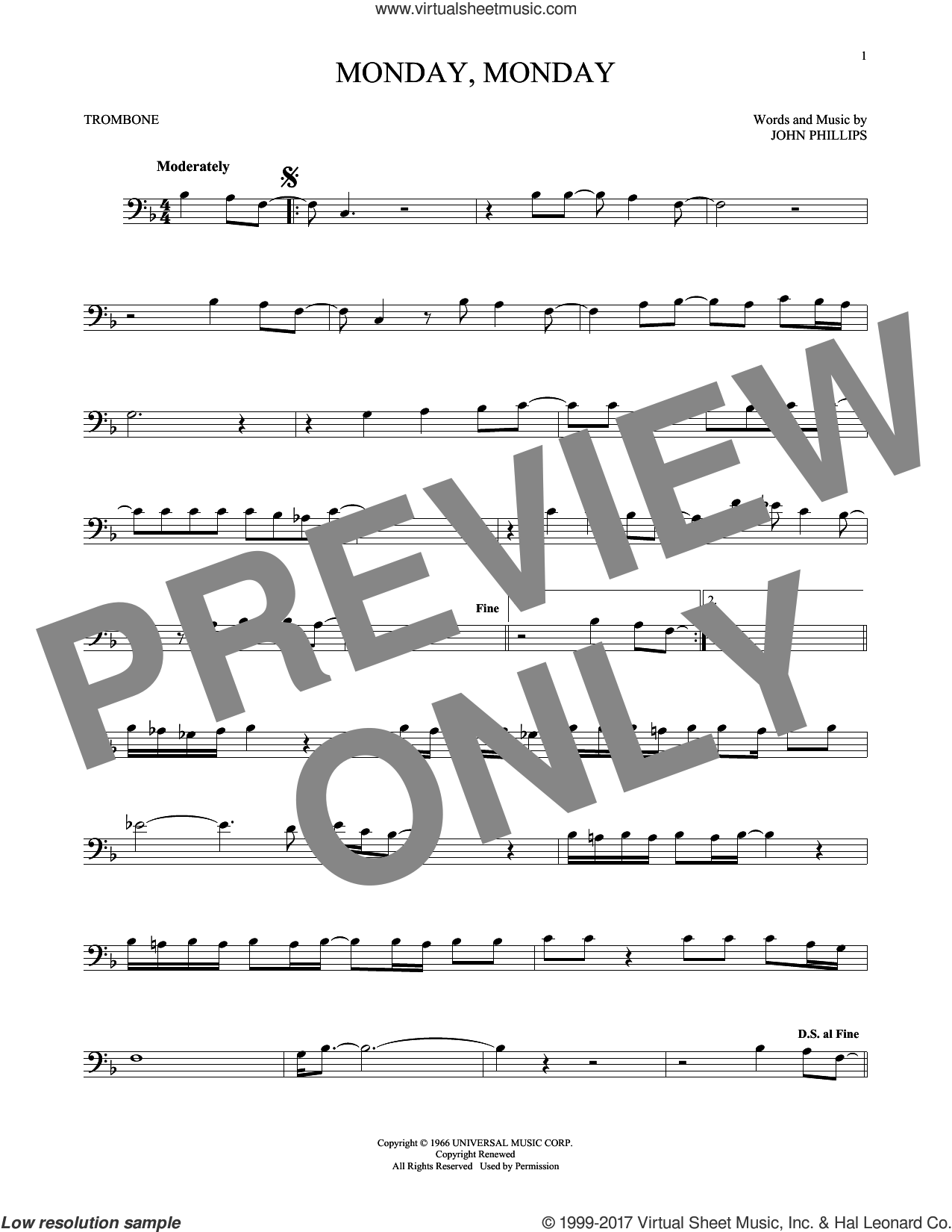Monday, Monday sheet music for trombone solo by The Mamas & The Papas and John Phillips, intermediate skill level