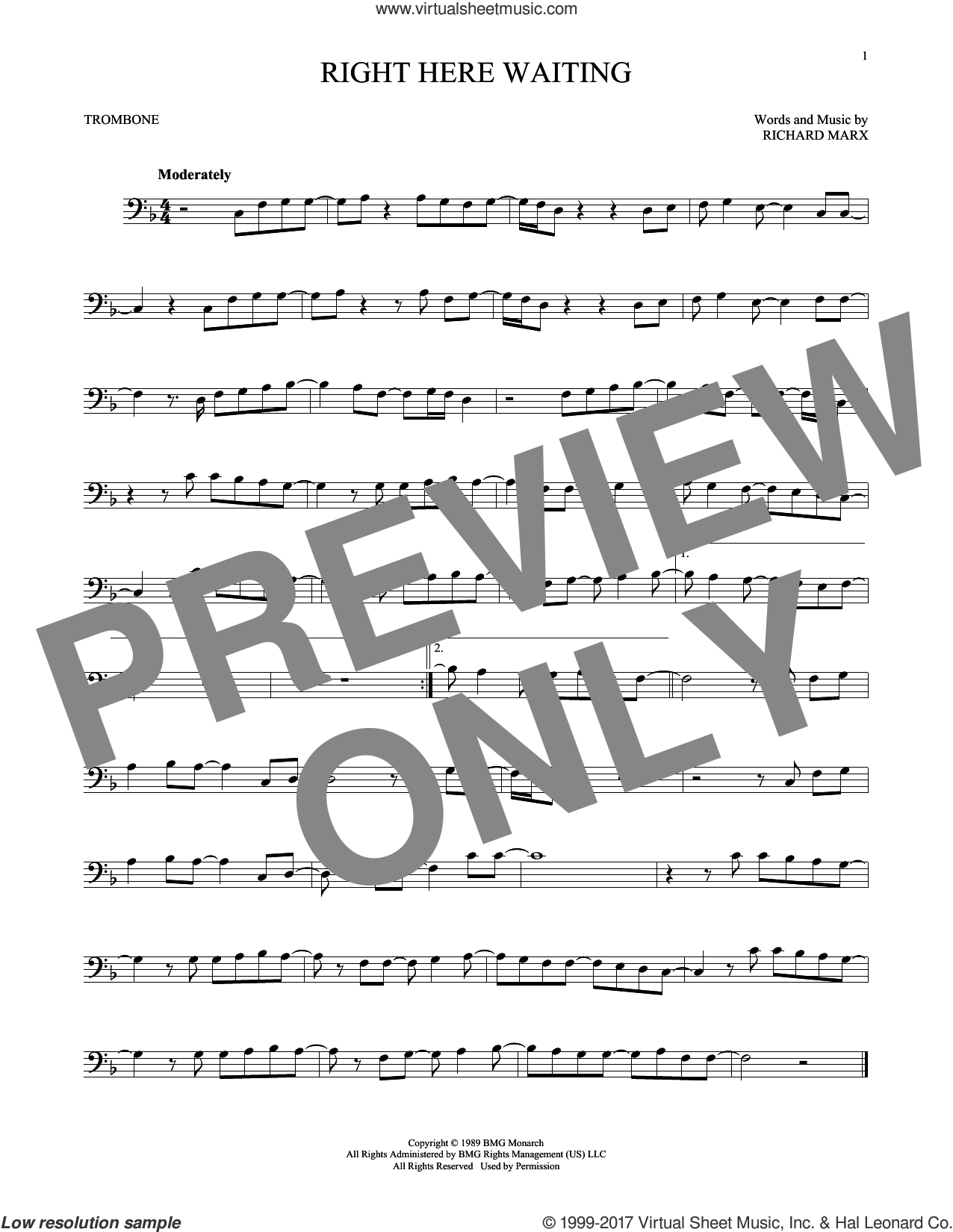 Right Here Waiting sheet music for trombone solo by Richard Marx, intermediate skill level