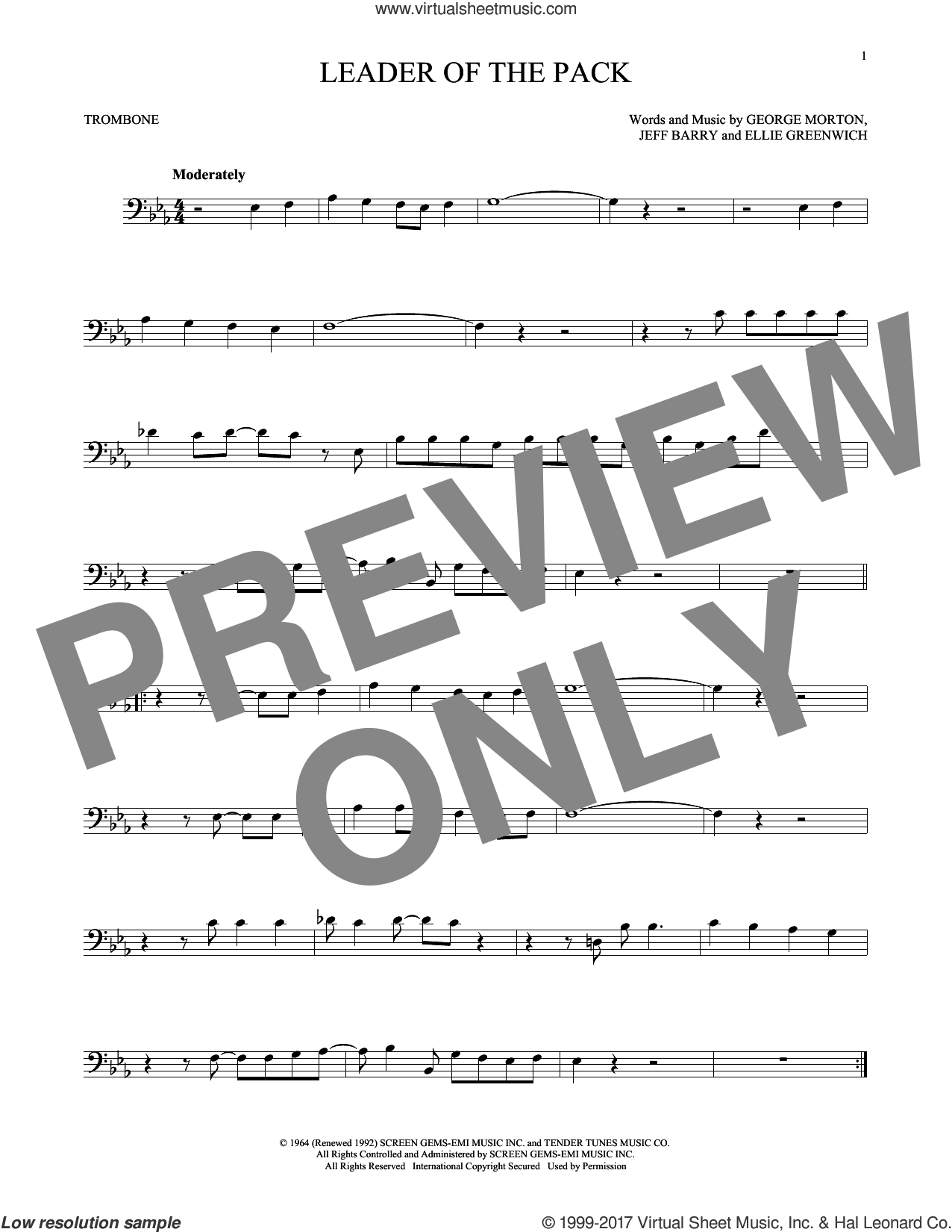 Leader Of The Pack sheet music for trombone solo by The Shangri-Las, Ellie Greenwich, George Morton and Jeff Barry, intermediate. Score Image Preview.