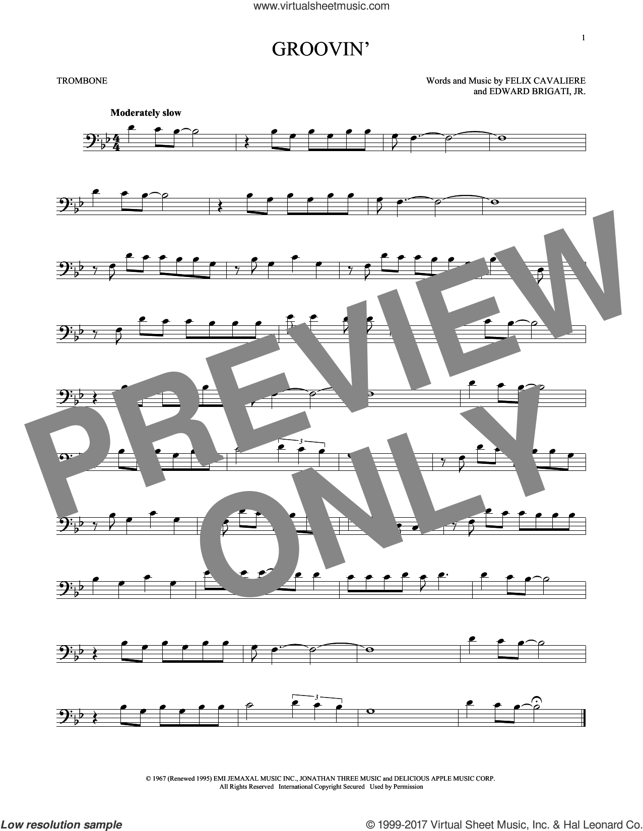 Groovin' sheet music for trombone solo by Young Rascals. Score Image Preview.