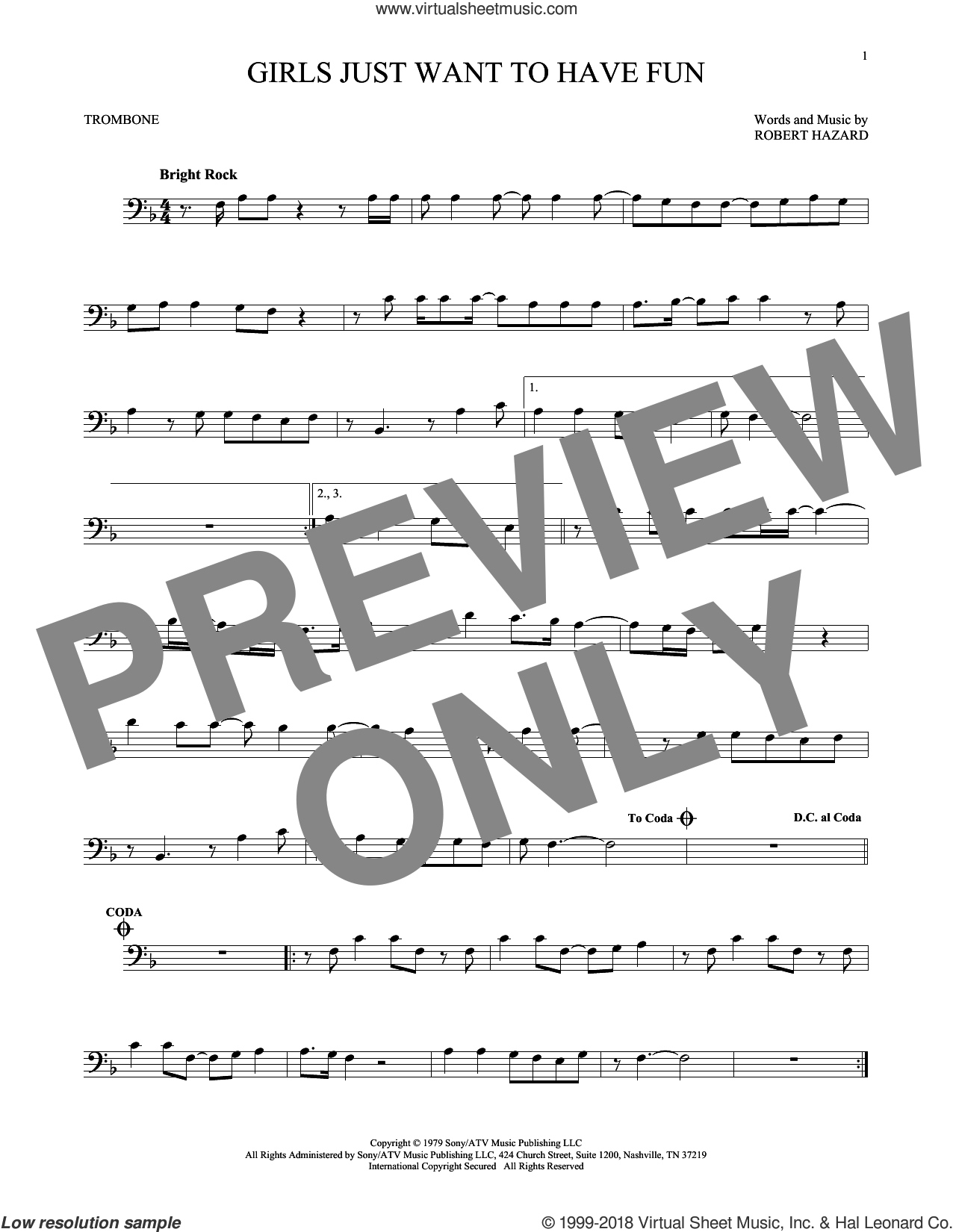 Girls Just Want To Have Fun sheet music for trombone solo by Cyndi Lauper, intermediate trombone. Score Image Preview.