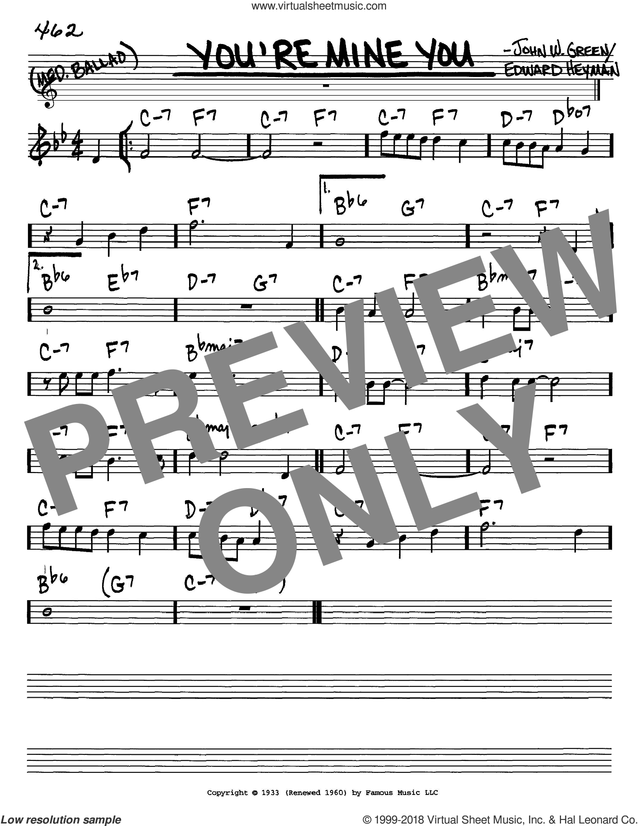 You're Mine You sheet music for voice and other instruments (C) by Edward Heyman and Johnny Green and Johnny Green. Score Image Preview.
