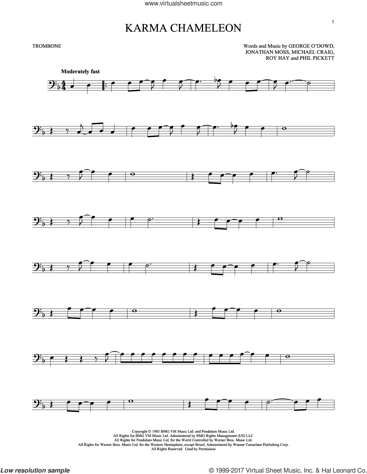 Karma Chameleon sheet music for trombone solo by Culture Club, Jonathan Moss, Michael Craig, Phil Pickett and Roy Hay, intermediate skill level