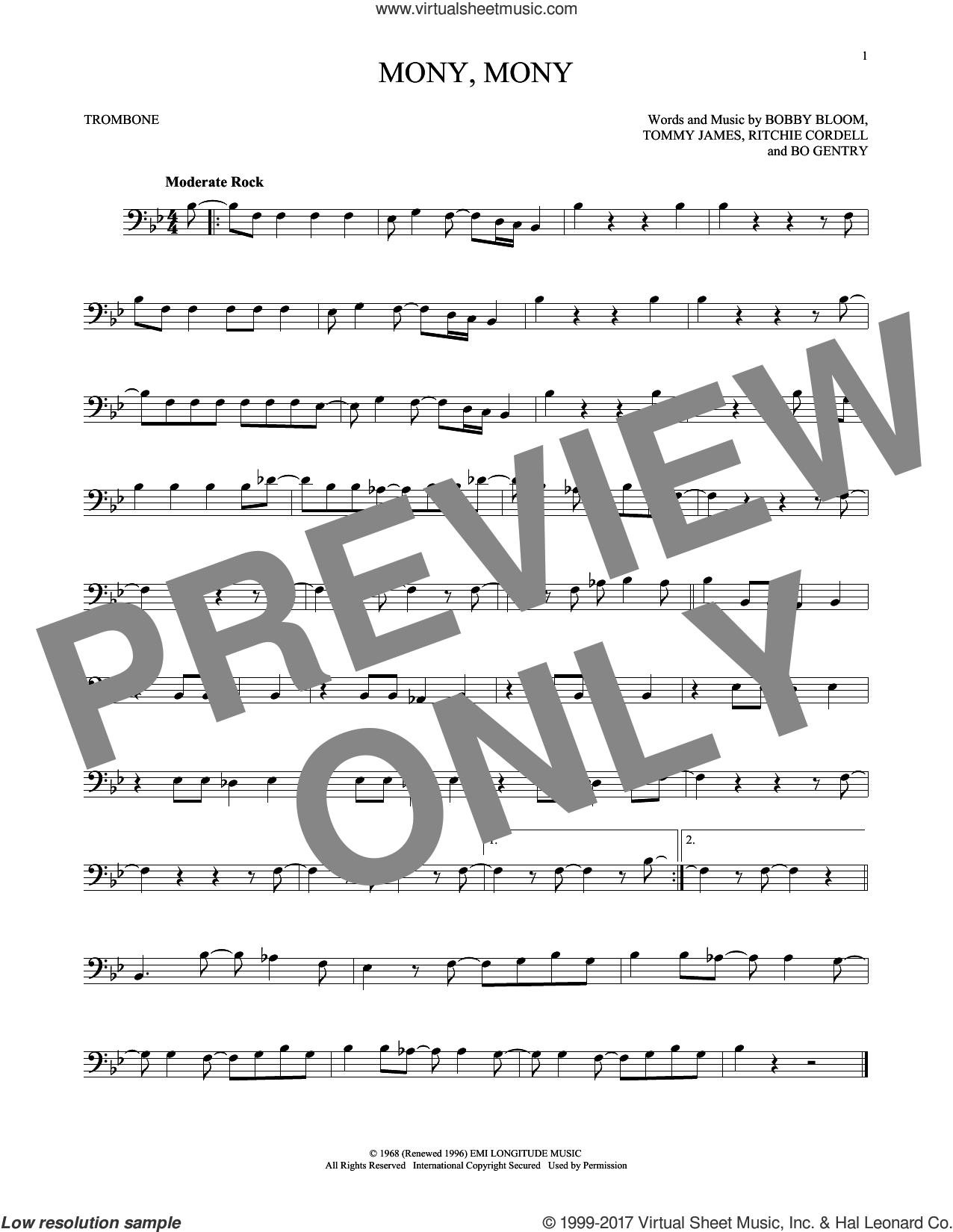 Mony, Mony sheet music for trombone solo by Tommy James & The Shondells, Bobby Bloom and Ritchie Cordell, intermediate trombone. Score Image Preview.