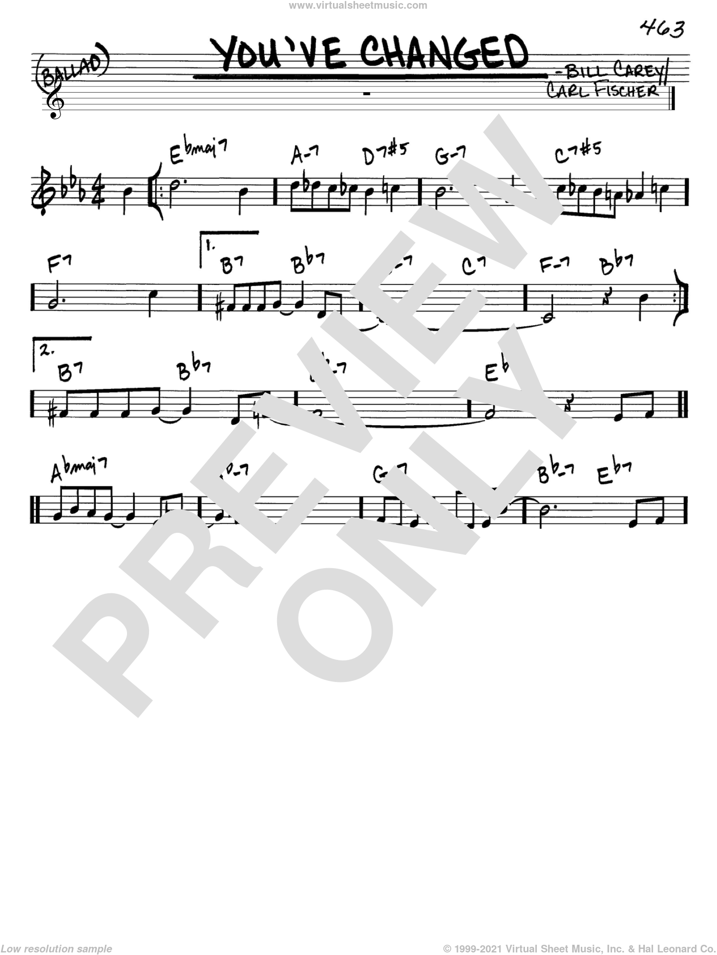 You've Changed sheet music for voice and other instruments (in C) by Carl Fischer, Connie Russell and Bill Carey, intermediate skill level