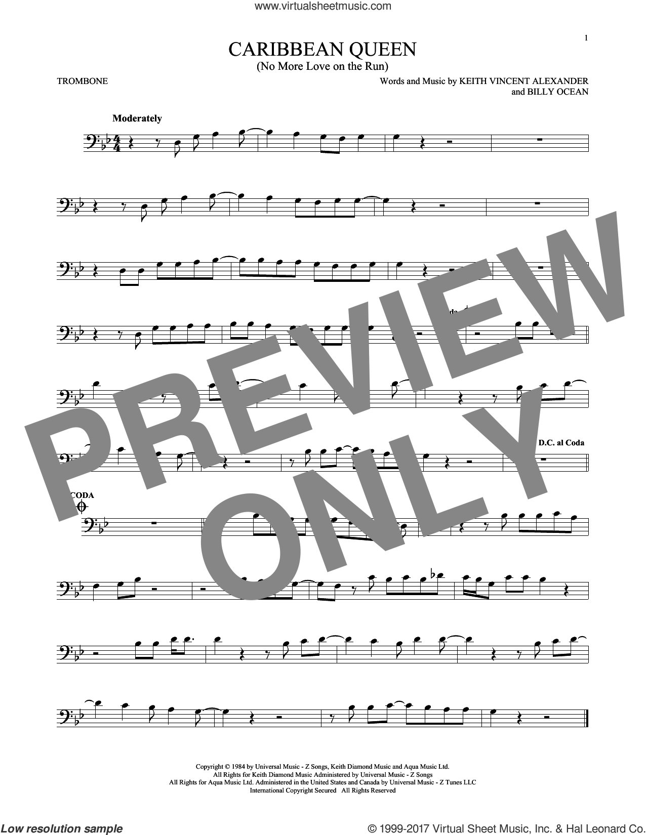 Caribbean Queen (No More Love On The Run) sheet music for trombone solo by Billy Ocean and Keith Vincent Alexander, intermediate. Score Image Preview.