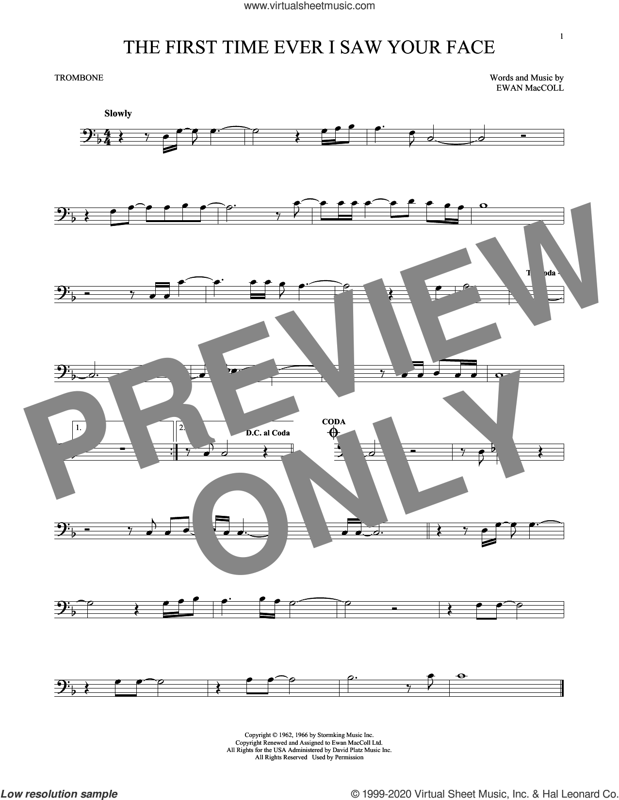 The First Time Ever I Saw Your Face sheet music for trombone solo by Roberta Flack and Ewan MacColl, intermediate skill level