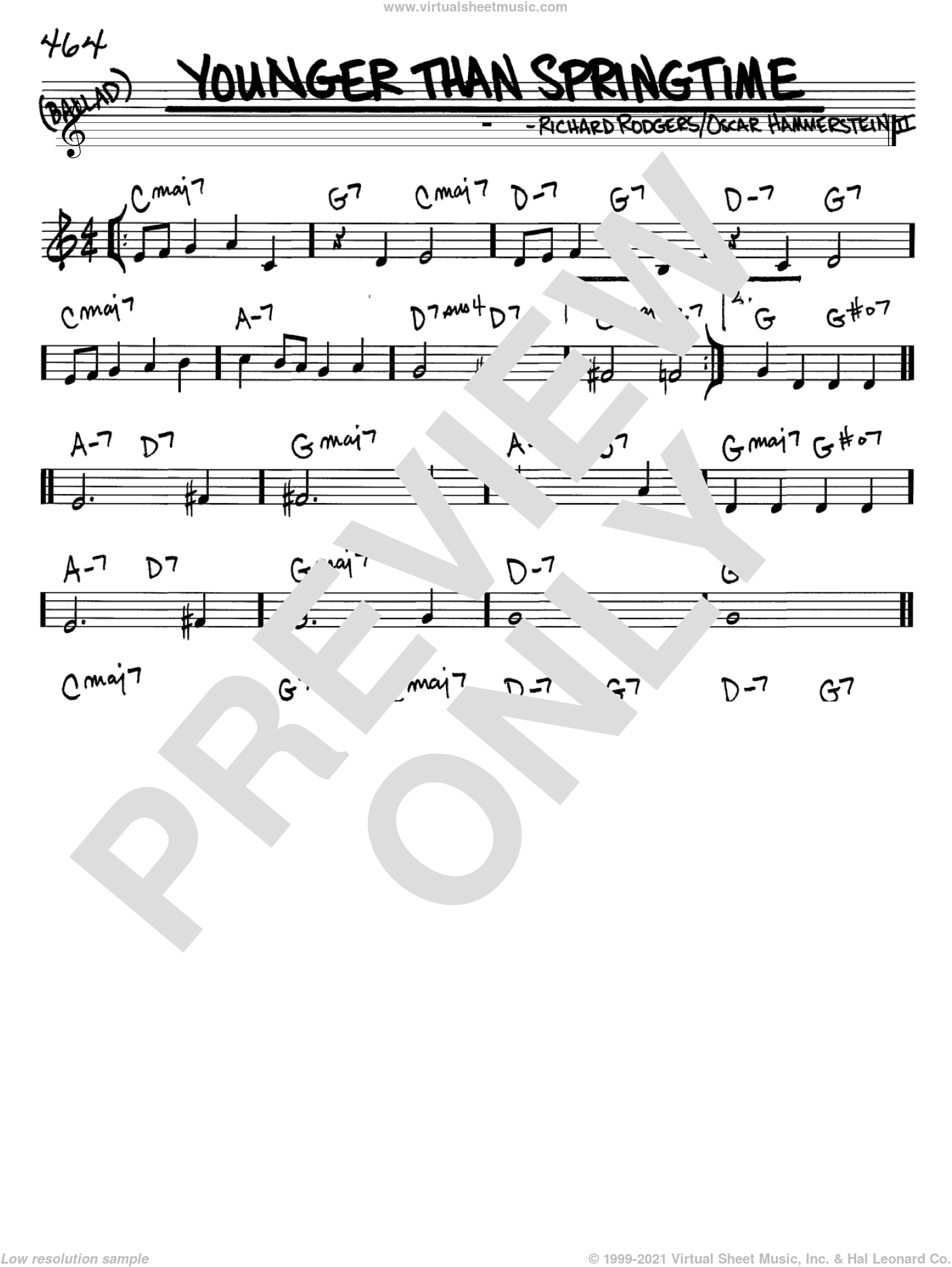 Younger Than Springtime sheet music for voice and other instruments (in C) by Rodgers & Hammerstein, Oscar II Hammerstein and Richard Rodgers, intermediate skill level