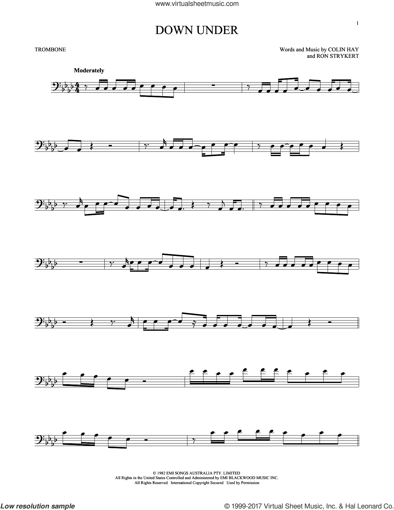 Down Under sheet music for trombone solo by Men At Work, Colin Hay and Ron Strykert, intermediate skill level