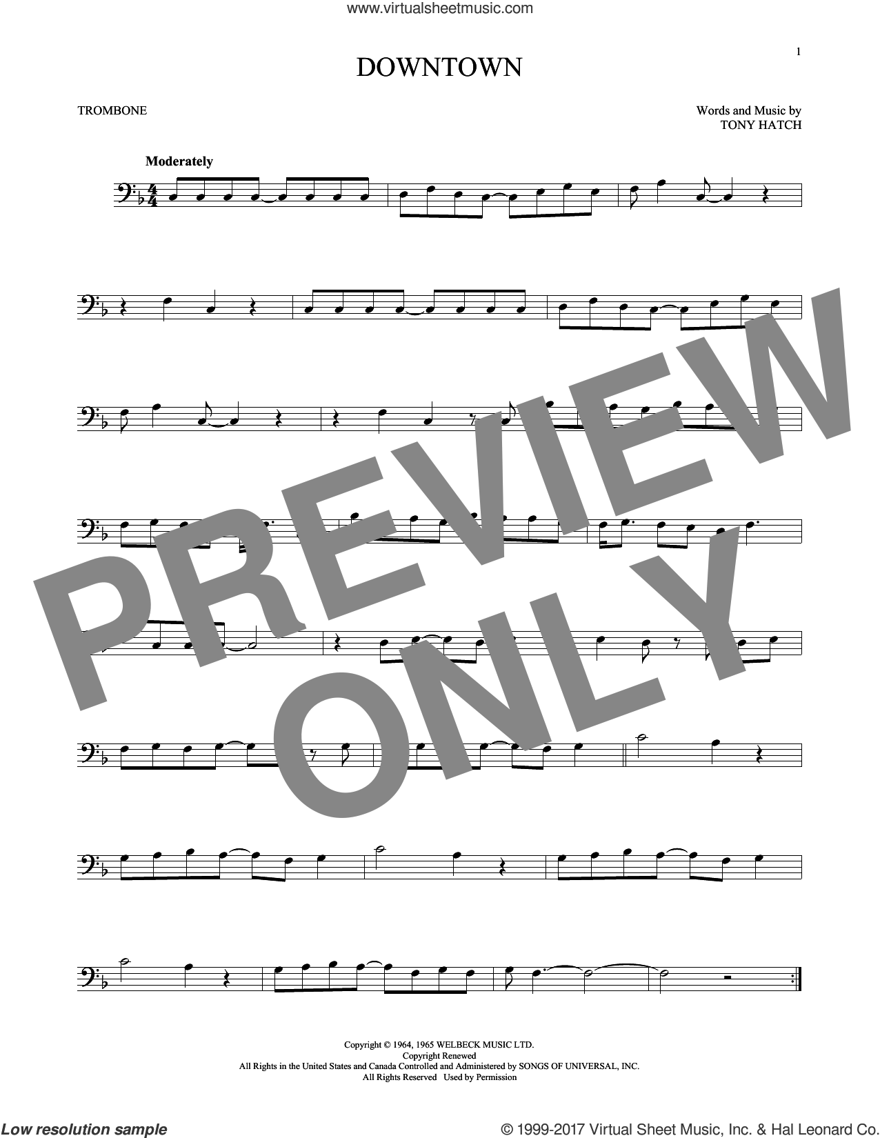 Downtown sheet music for trombone solo by Petula Clark and Tony Hatch, intermediate trombone. Score Image Preview.