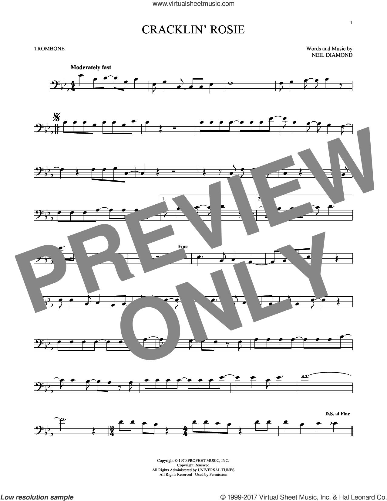 Cracklin' Rosie sheet music for trombone solo by Neil Diamond, intermediate skill level