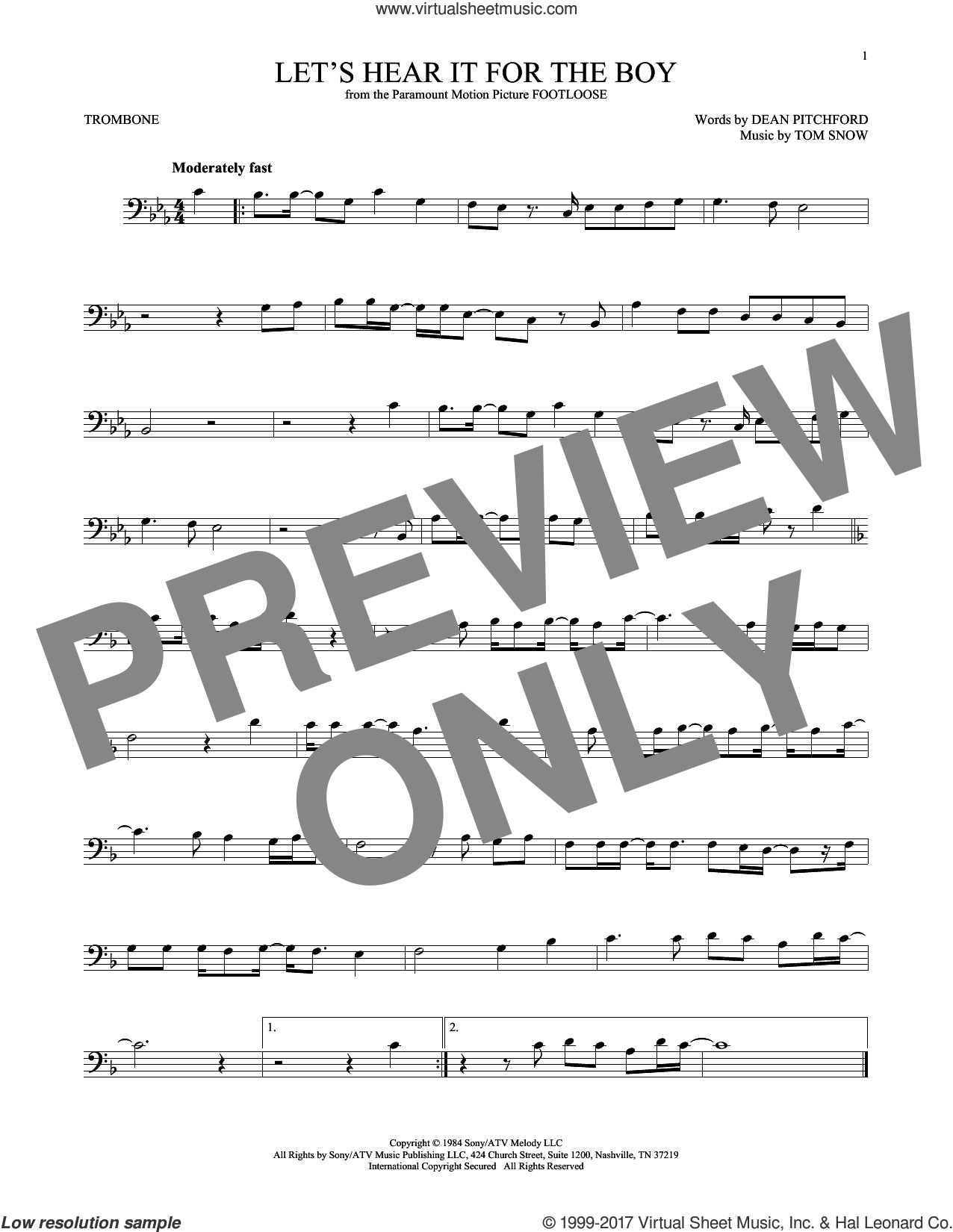 Let's Hear It For The Boy sheet music for trombone solo by Deniece Williams, Dean Pitchford and Tom Snow, intermediate skill level