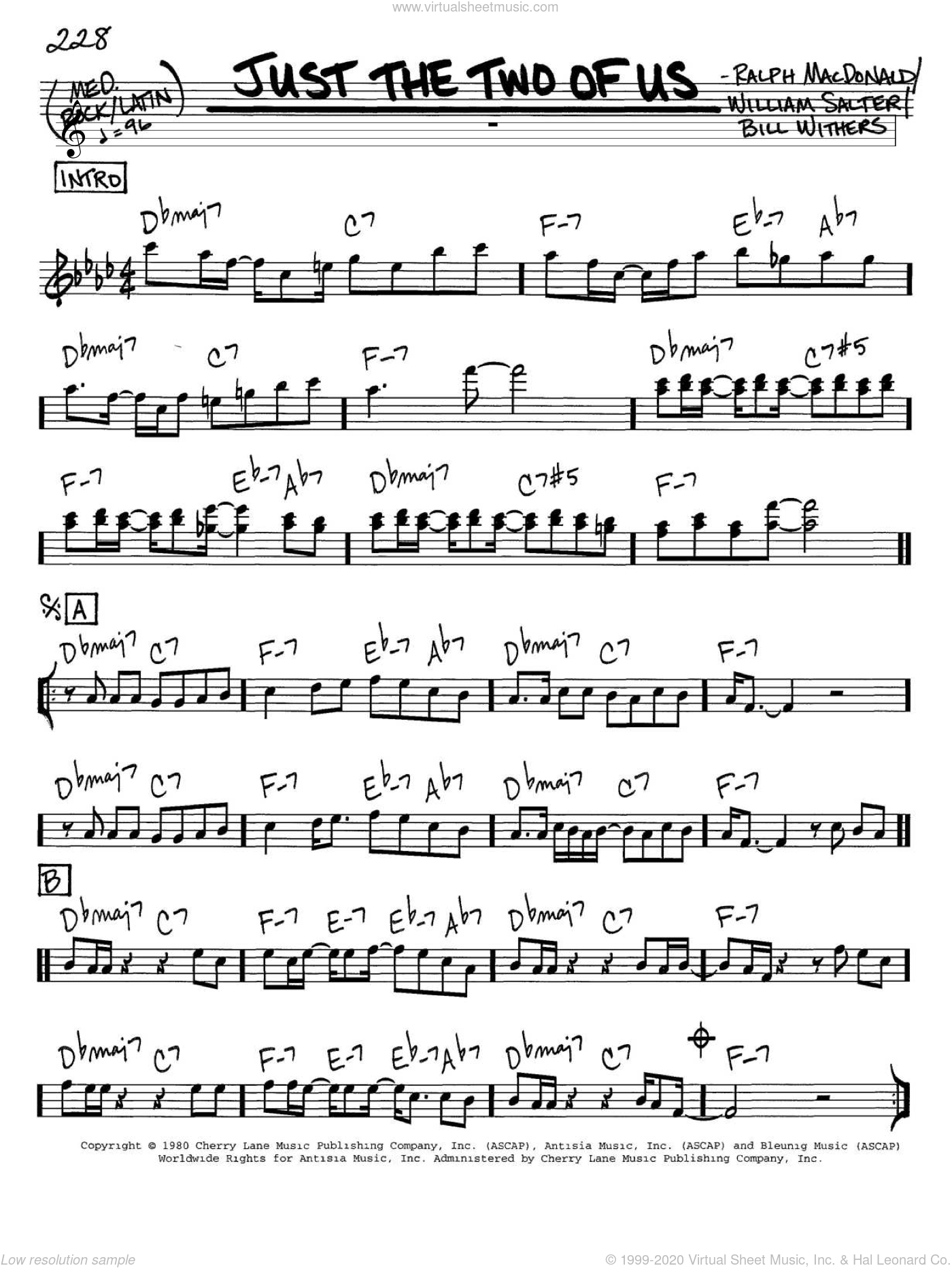 Just The Two Of Us sheet music for voice and other instruments (in C) by Grover Washington Jr., Grover Washington Jr. feat. Bill Withers, Bill Withers, Ralph MacDonald and William Salter, wedding score, intermediate skill level