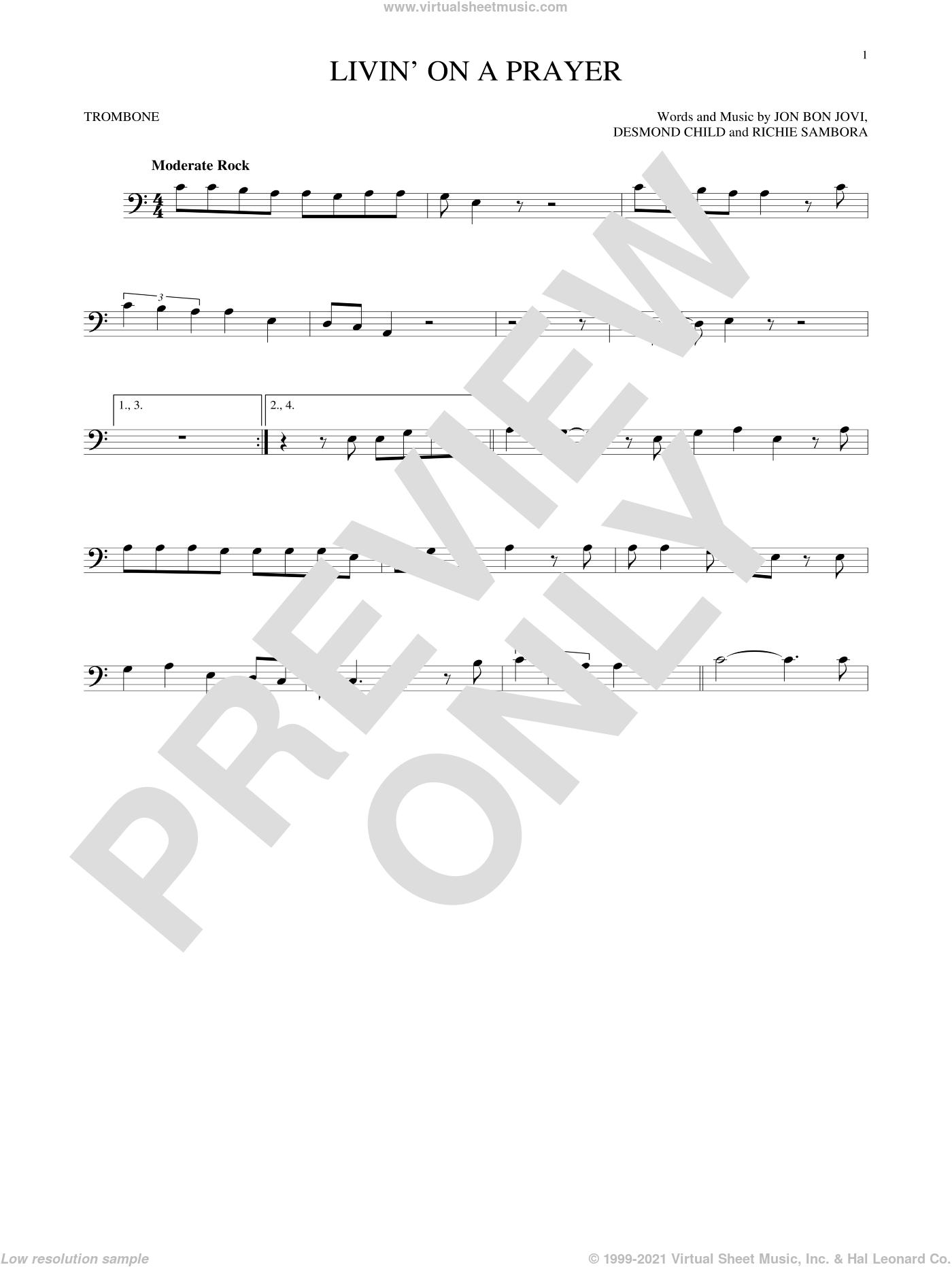 Livin' On A Prayer sheet music for trombone solo by Bon Jovi, Desmond Child and Richie Sambora, intermediate skill level