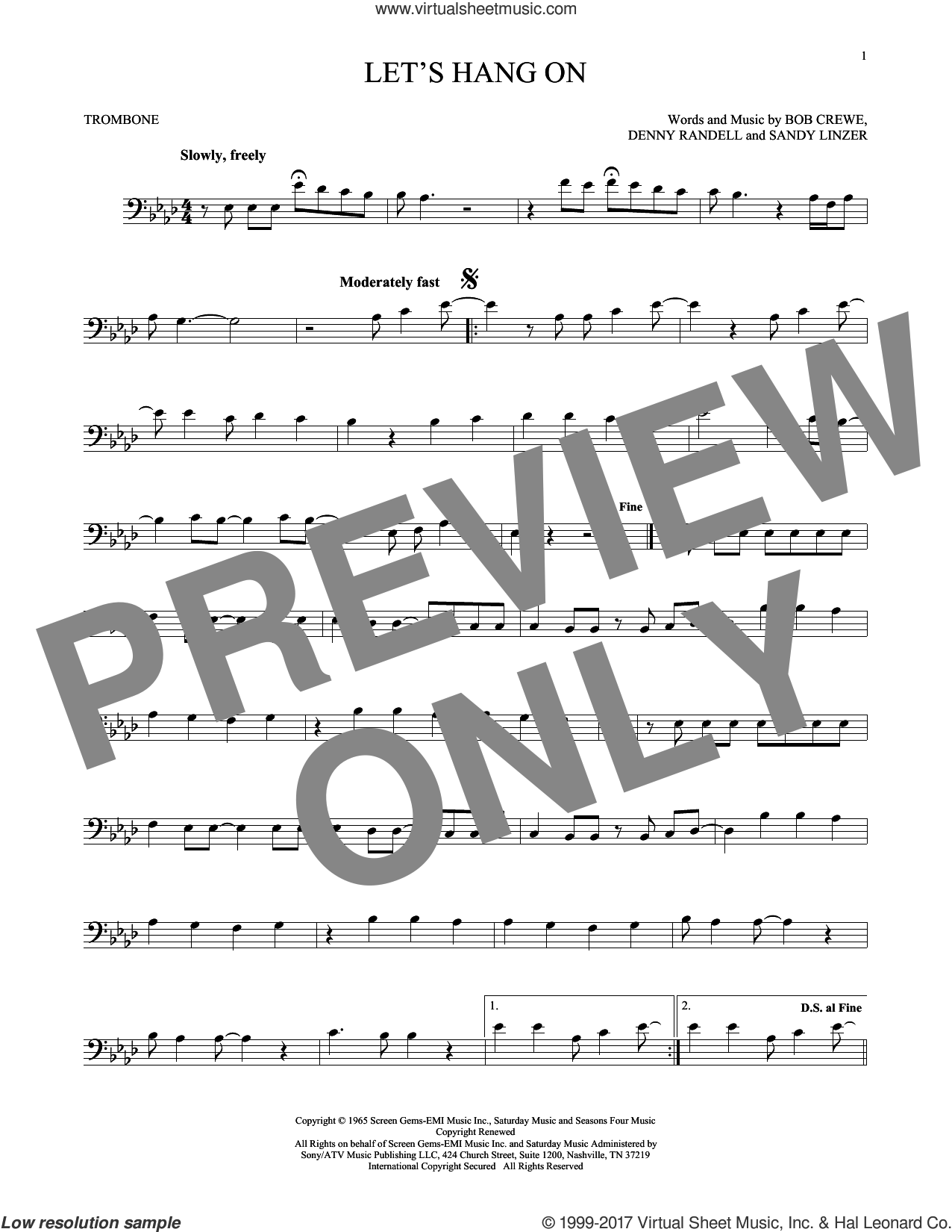 Let's Hang On sheet music for trombone solo by The 4 Seasons, Bob Crewe, Denny Randell and Sandy Linzer, intermediate skill level