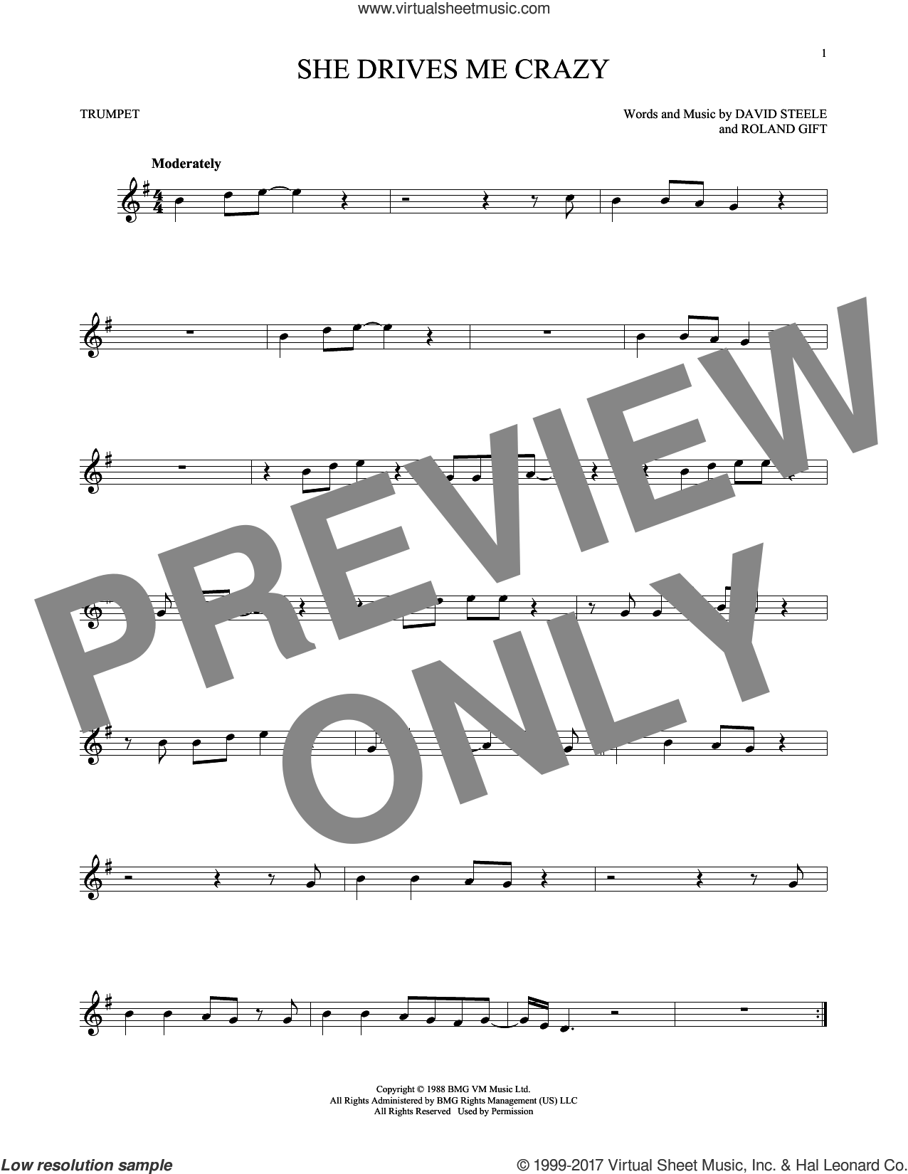 She Drives Me Crazy sheet music for trumpet solo by Fine Young Cannibals, David Steele and Roland Gift, intermediate skill level