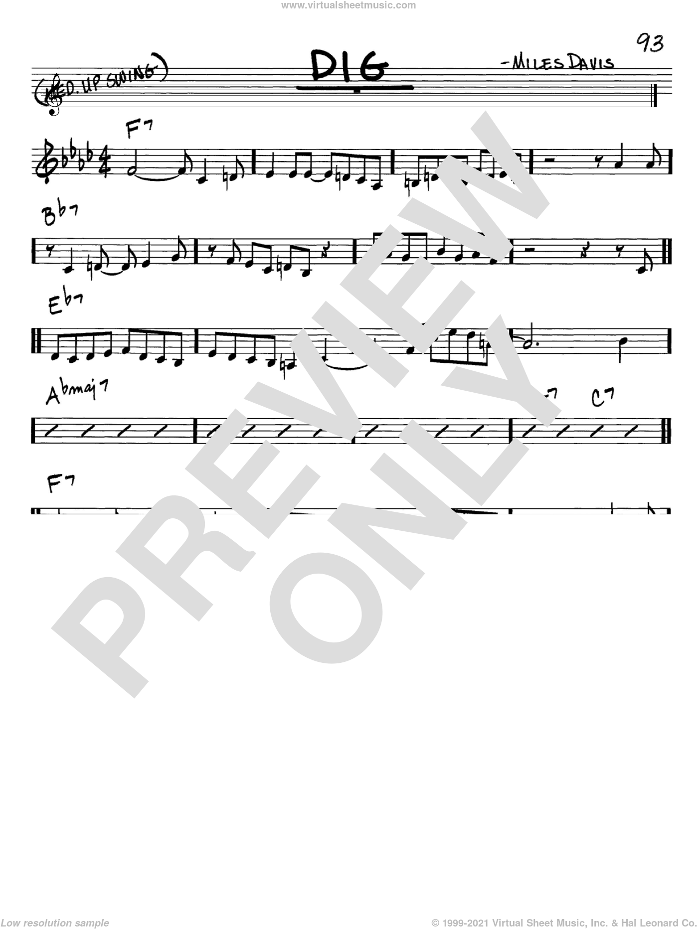 Dig sheet music for voice and other instruments (C) by Miles Davis. Score Image Preview.