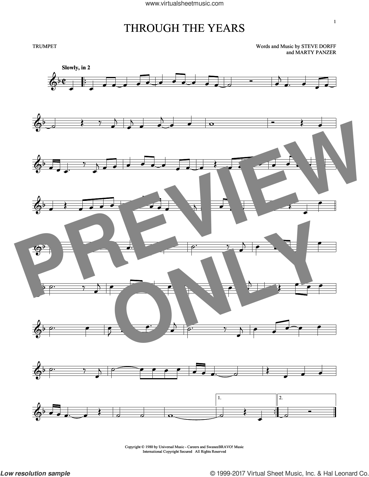 Through The Years sheet music for trumpet solo by Kenny Rogers, Marty Panzer and Steve Dorff, intermediate skill level