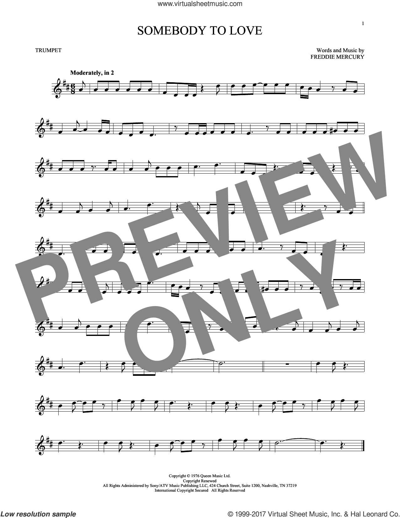 Somebody To Love sheet music for trumpet solo by Queen and Freddie Mercury, intermediate skill level