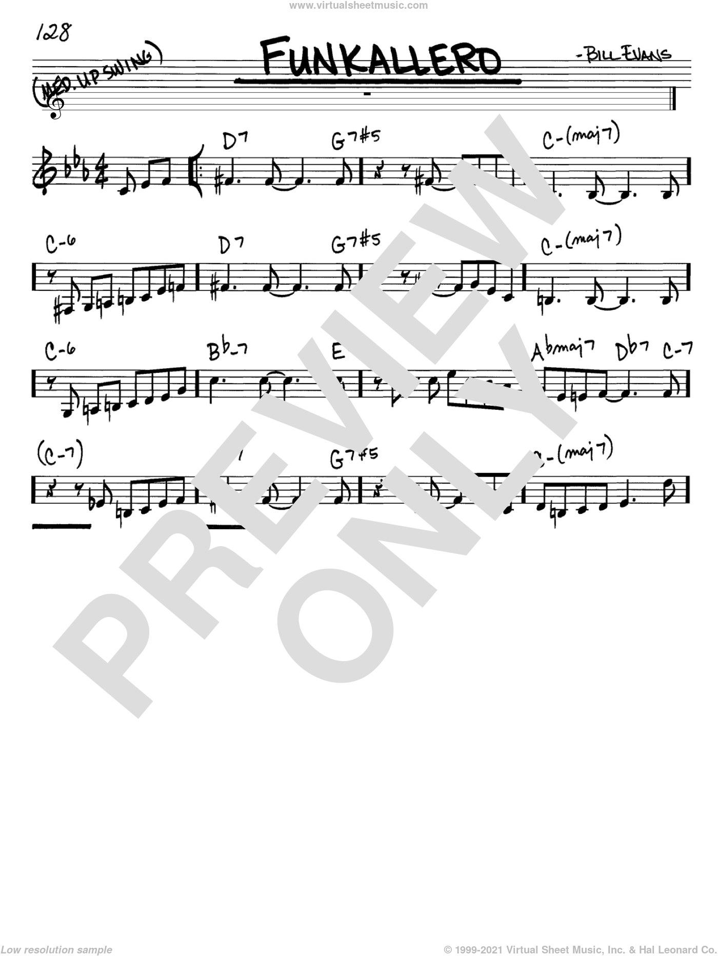 Funkallero sheet music for voice and other instruments (in C) by Bill Evans, intermediate skill level