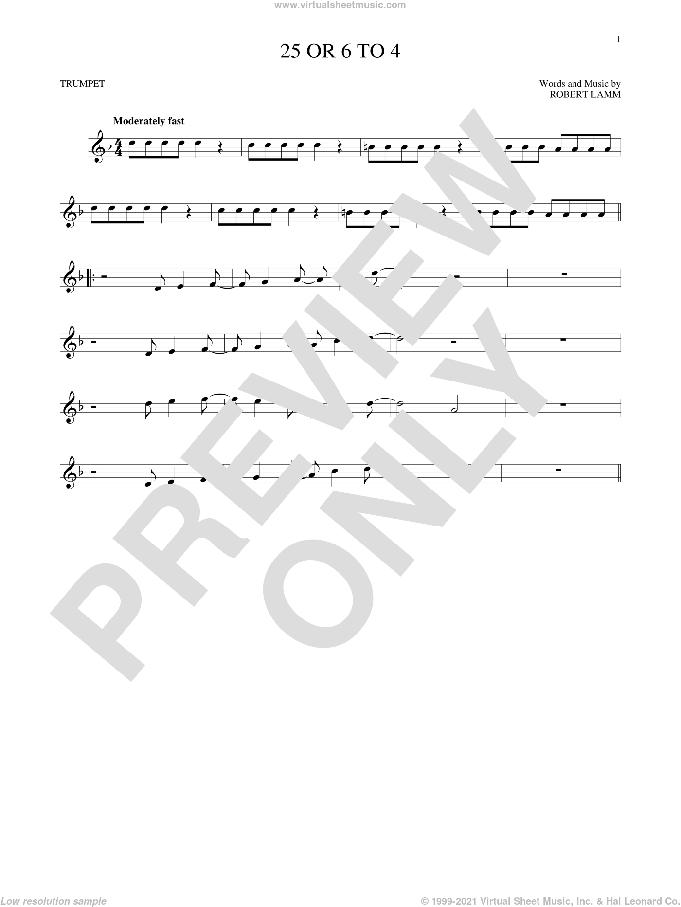 25 Or 6 To 4 sheet music for trumpet solo by Chicago and Robert Lamm, intermediate skill level