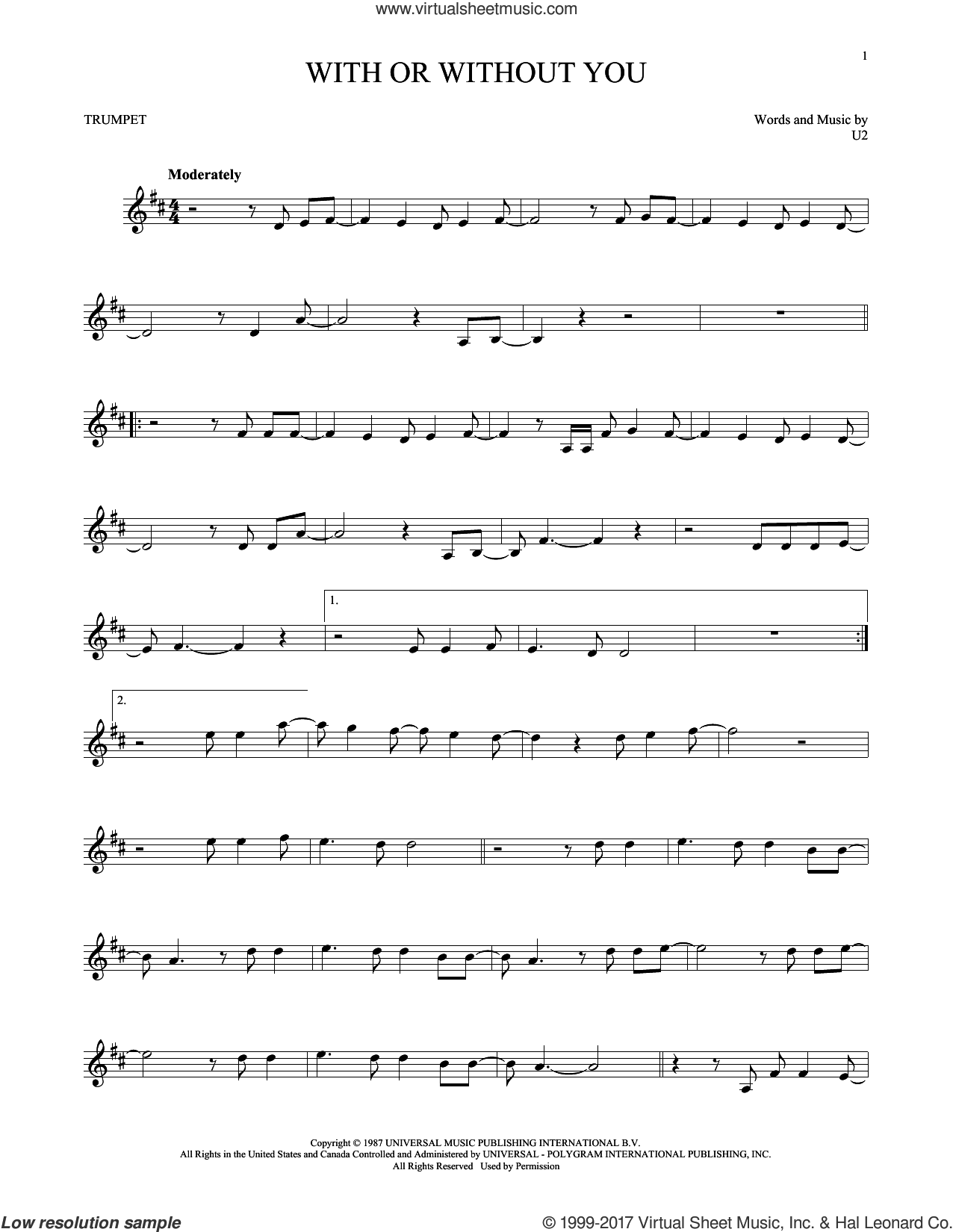 With Or Without You sheet music for trumpet solo by U2, intermediate