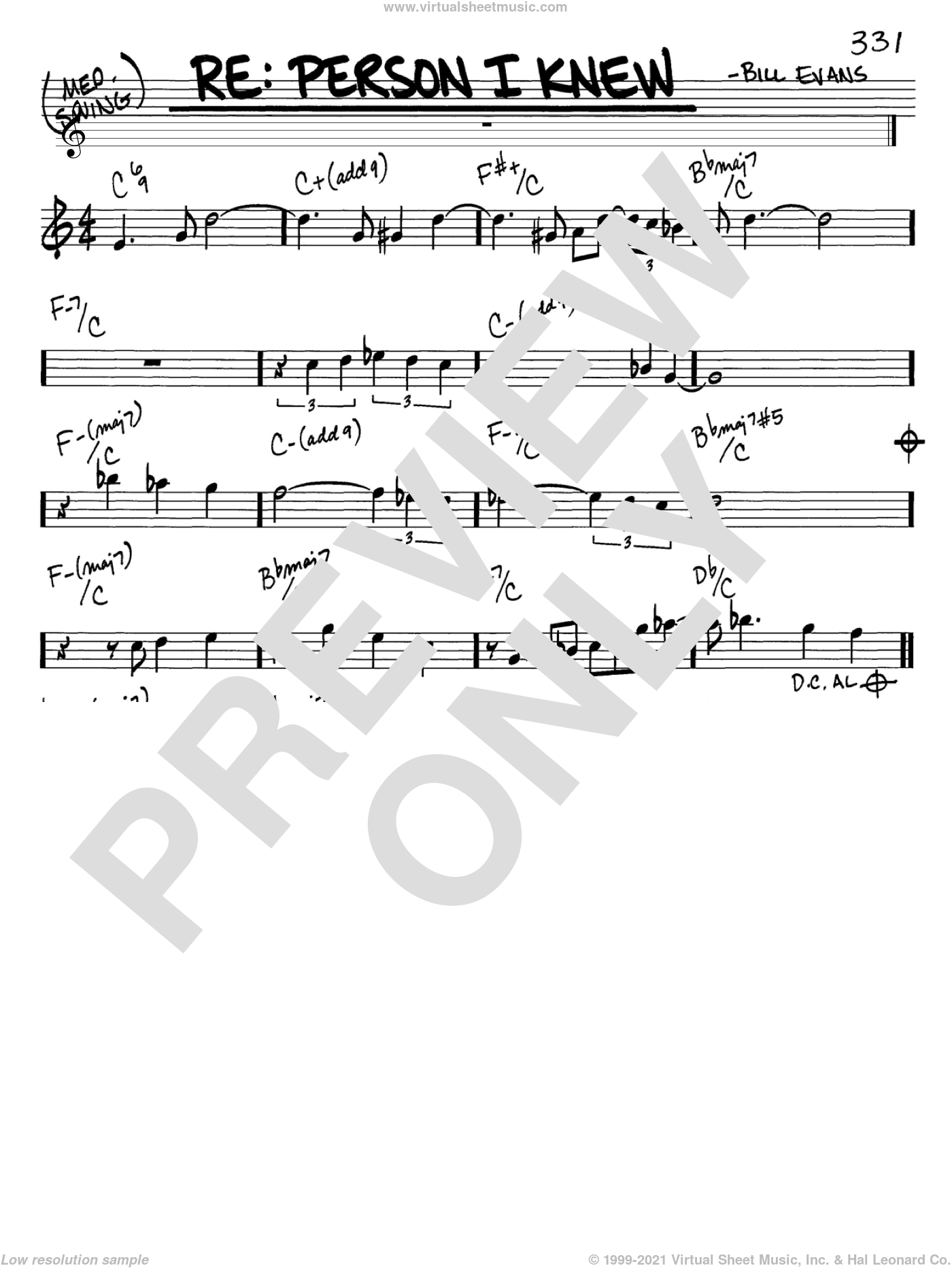 Re: Person I Knew sheet music for voice and other instruments (C) by Bill Evans. Score Image Preview.