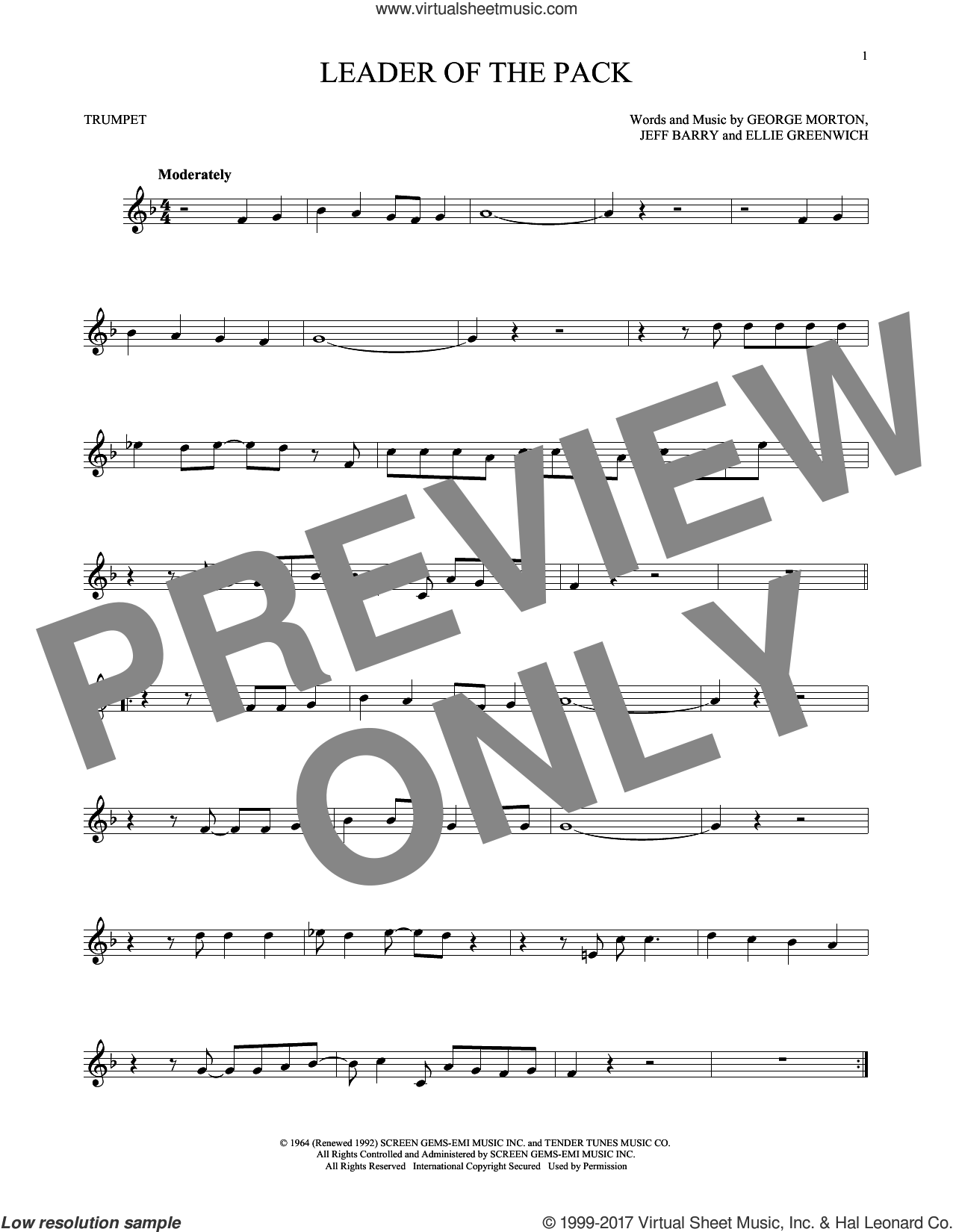Leader Of The Pack sheet music for trumpet solo by The Shangri-Las, Ellie Greenwich and Jeff Barry, intermediate trumpet. Score Image Preview.