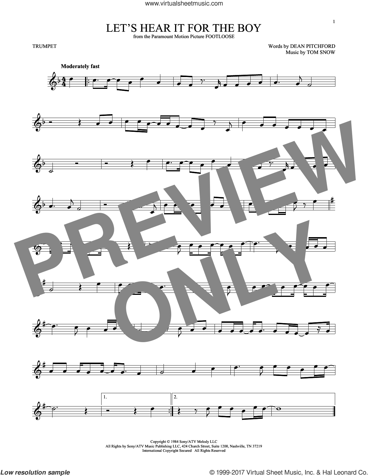 Let's Hear It For The Boy sheet music for trumpet solo by Deniece Williams, Dean Pitchford and Tom Snow, intermediate trumpet. Score Image Preview.
