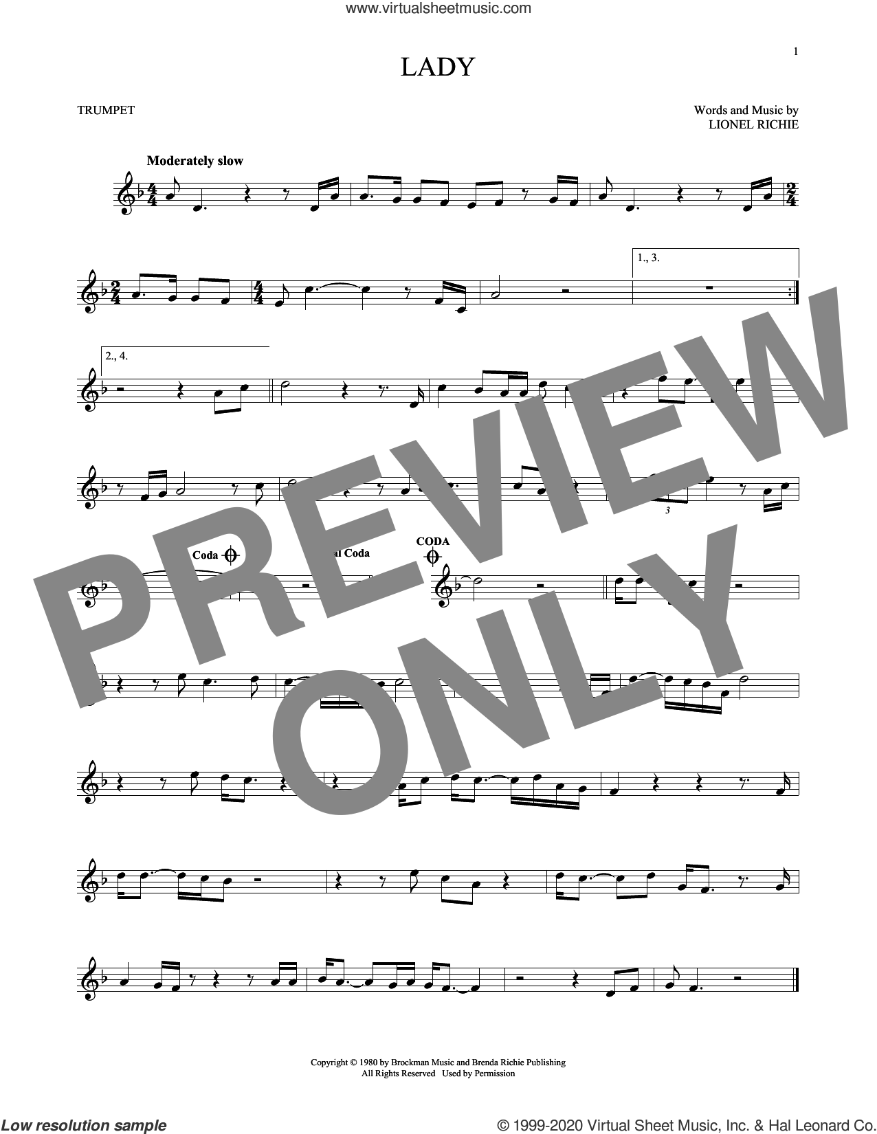 Lady sheet music for trumpet solo by Kenny Rogers and Lionel Richie, intermediate skill level