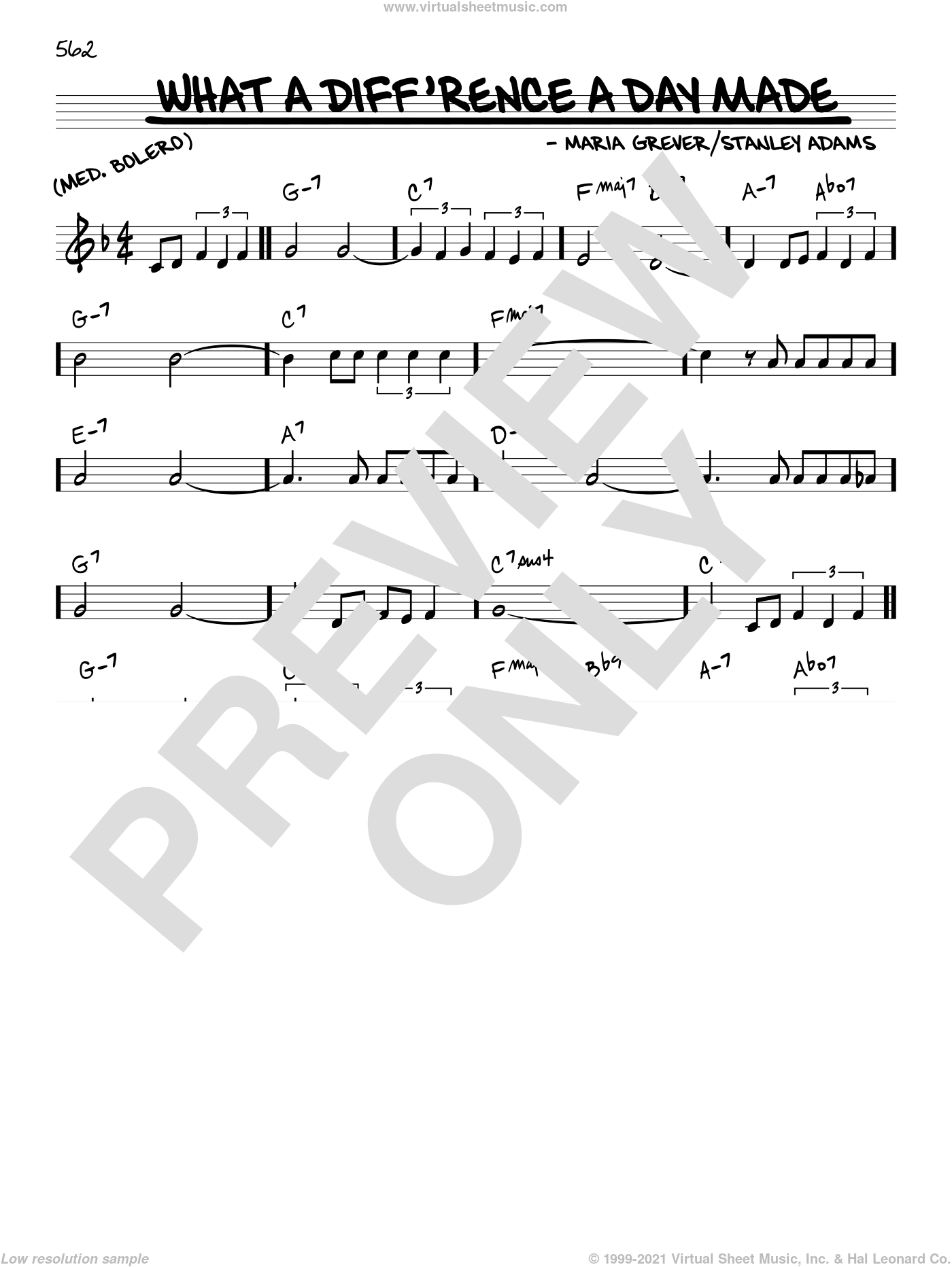 What A Diff'rence A Day Made sheet music for voice and other instruments (C) by Maria Grever