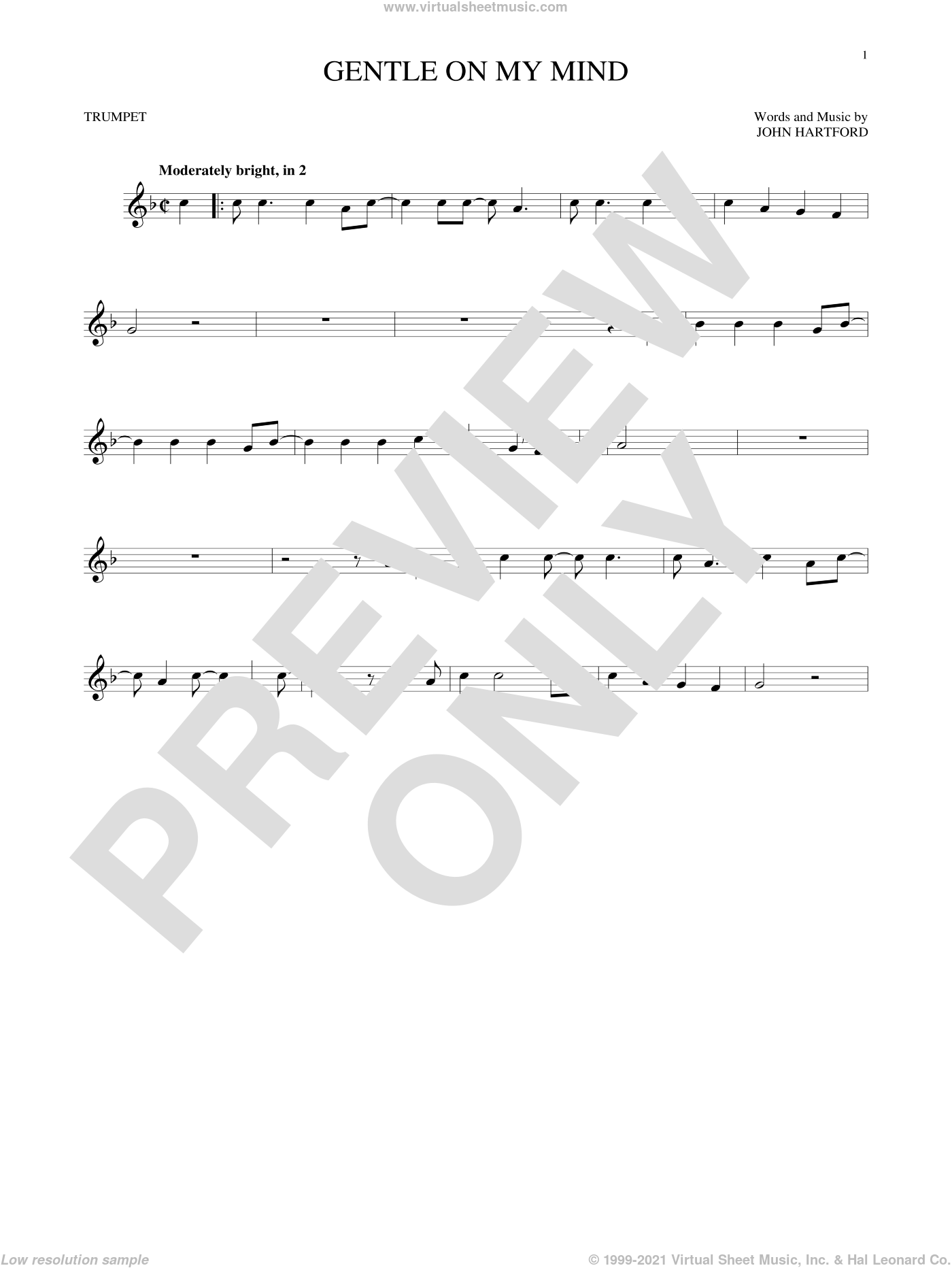 Gentle On My Mind sheet music for trumpet solo by Glen Campbell, intermediate trumpet. Score Image Preview.