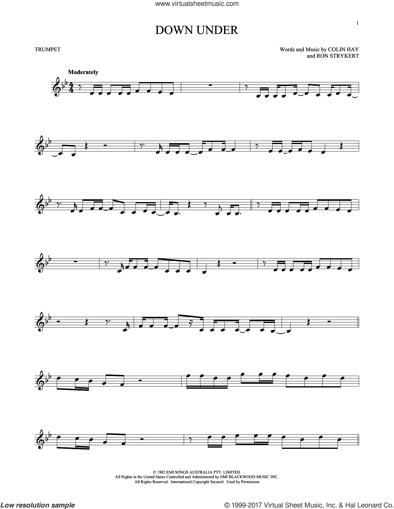 Down Under sheet music for trumpet solo by Men At Work, Colin Hay and Ron Strykert, intermediate skill level