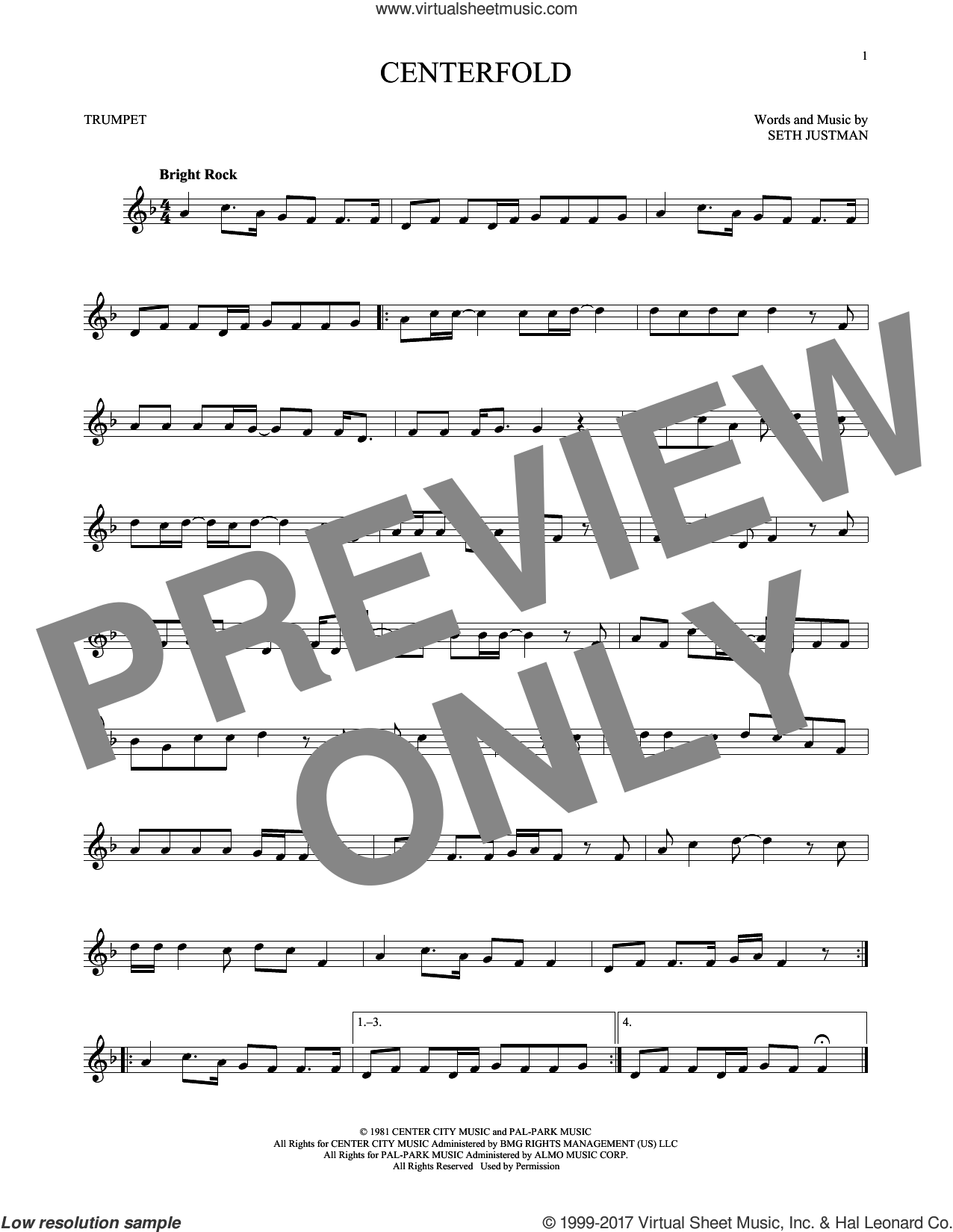 Centerfold sheet music for trumpet solo by J. Geils Band and Seth Justman, intermediate skill level